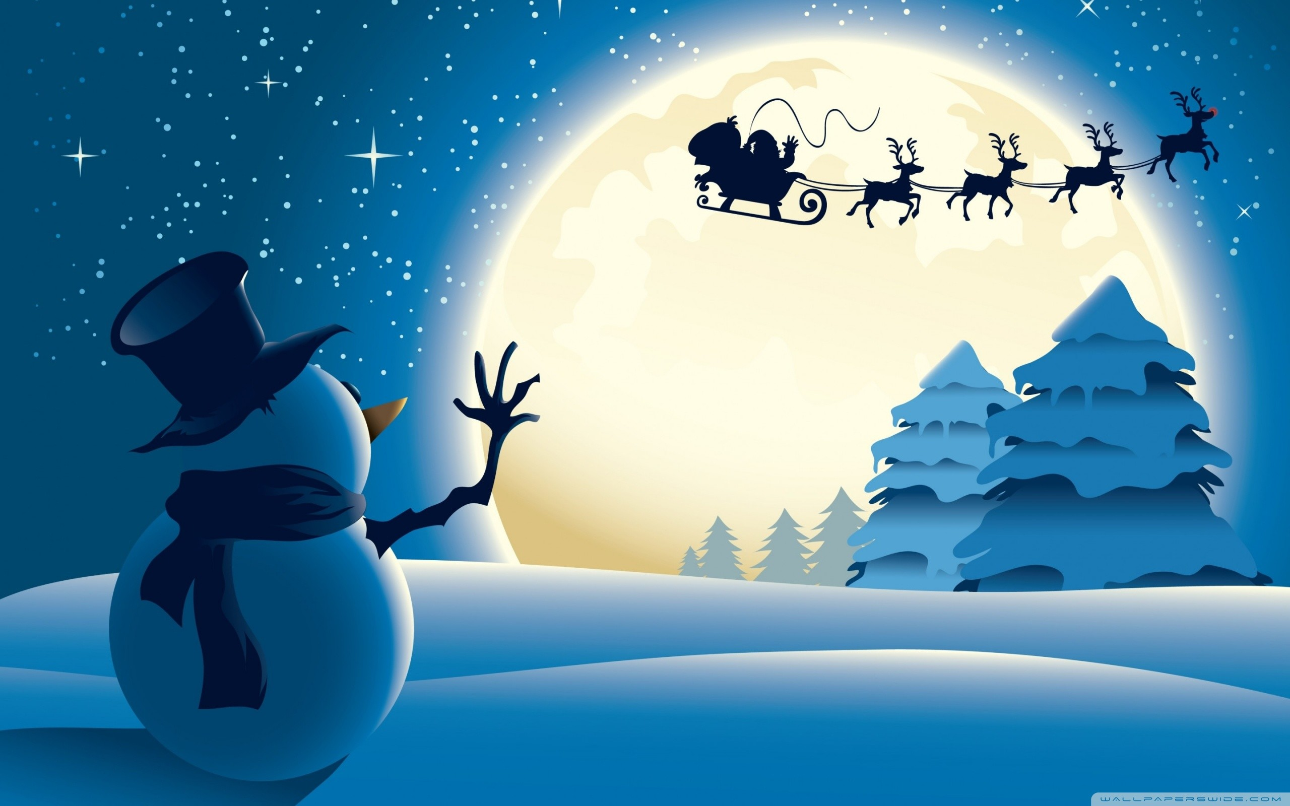 santa claus and snowman wallpaper