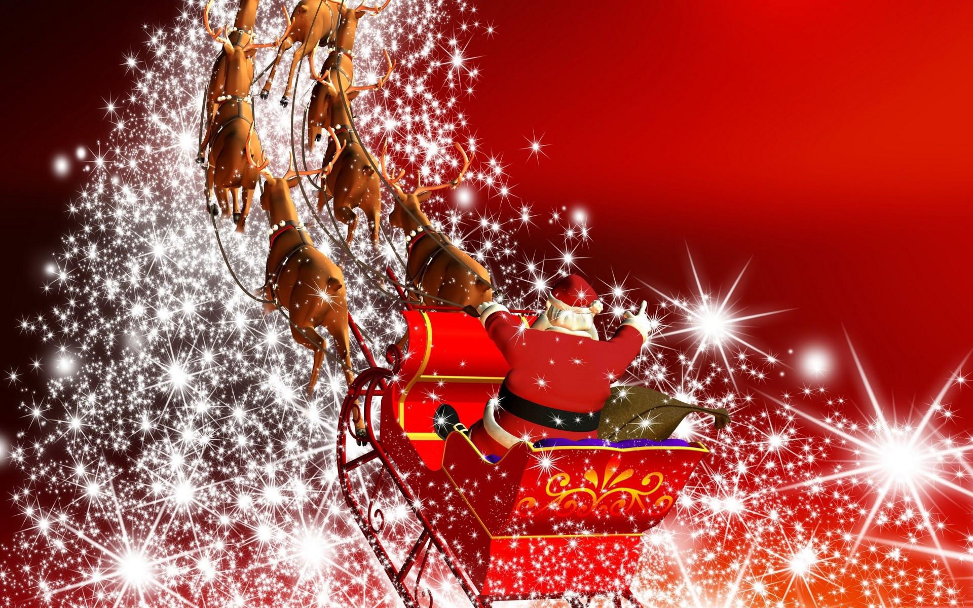 Santa Claus in harness racing away on Christmas