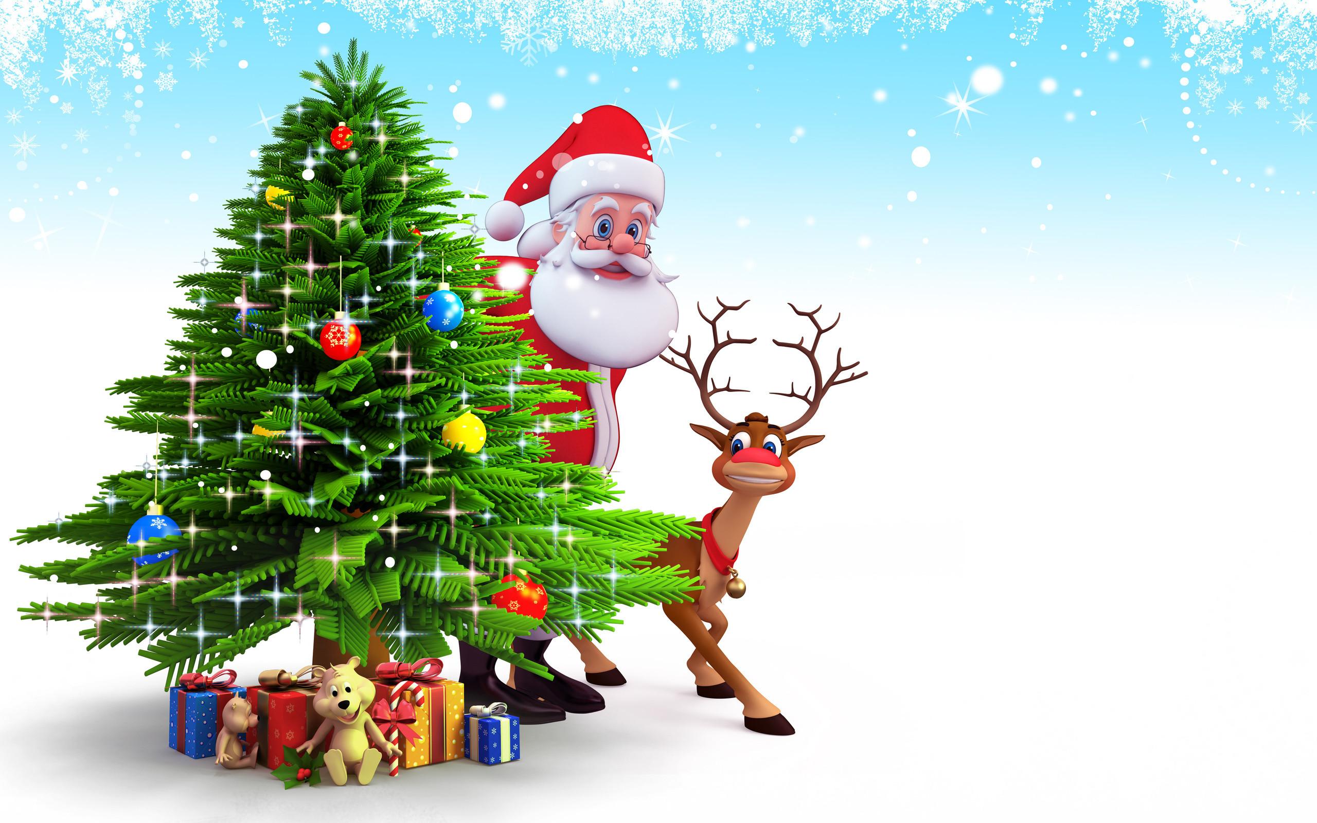 Santa Claus And Reindeer behind christmas tree and gifts Christmas Santa  claus wallpapers