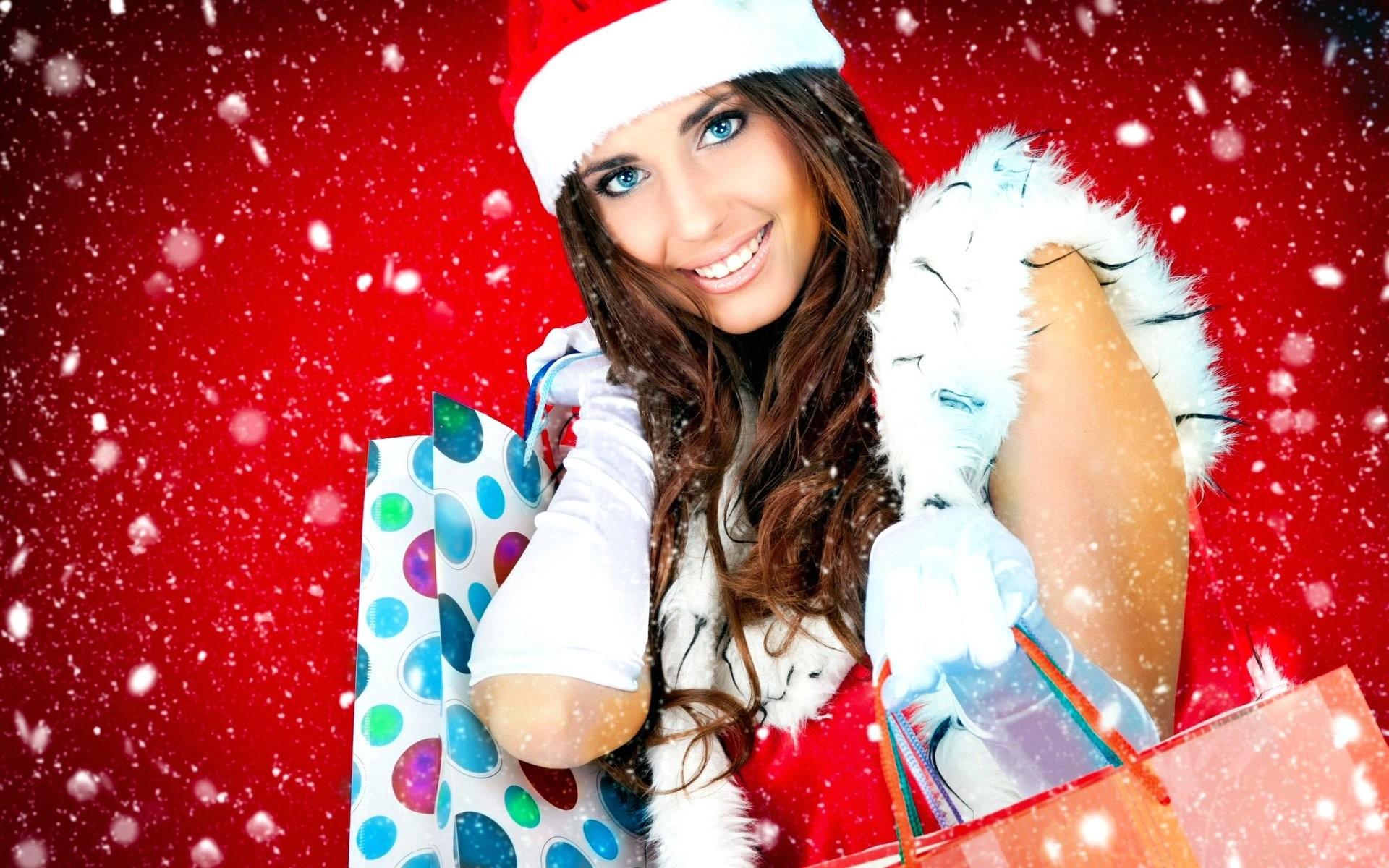 Z Wallpaper Christmas Beautiful Girl Santa Claus