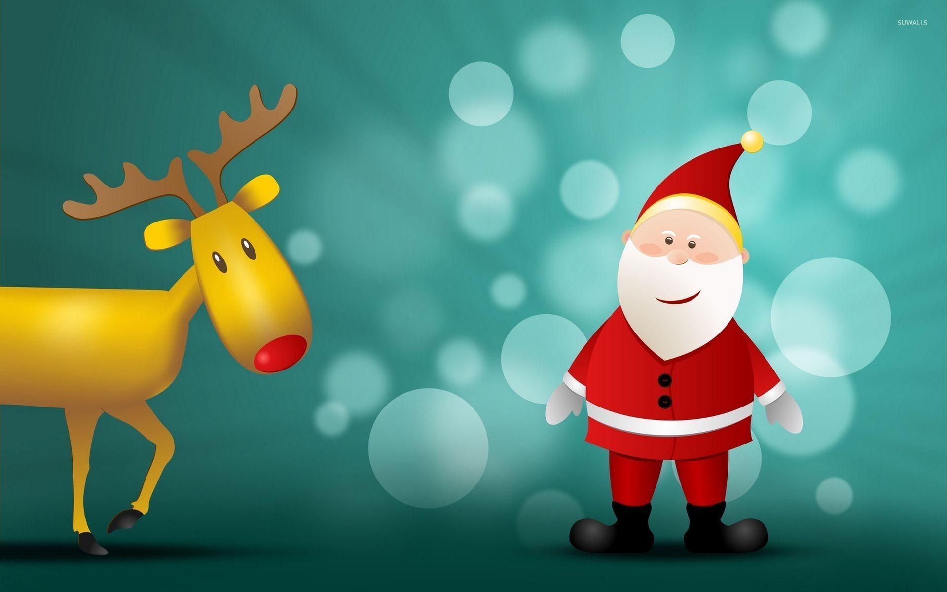 Rudolf and happy Santa Claus wallpaper