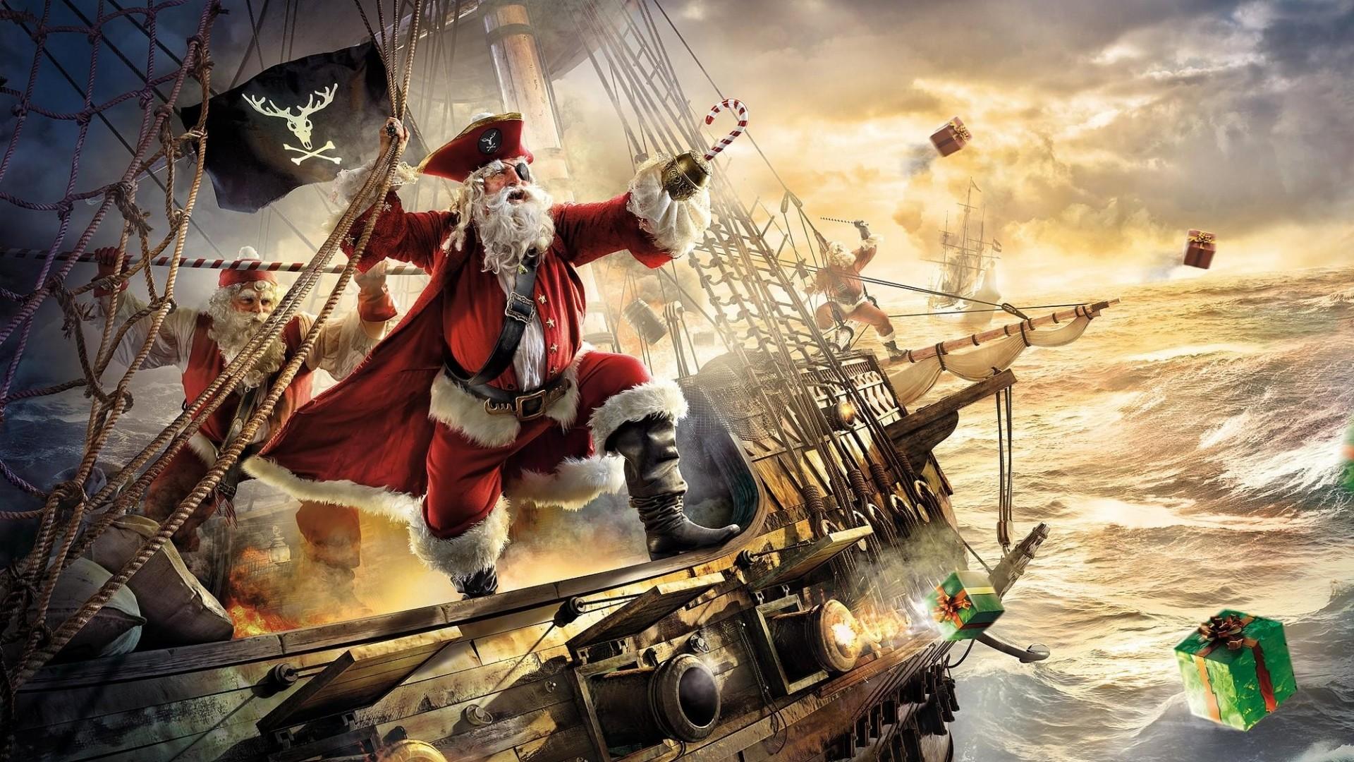 Preview wallpaper santa claus, pirate, ship, gifts, sea, storm 1920×1080