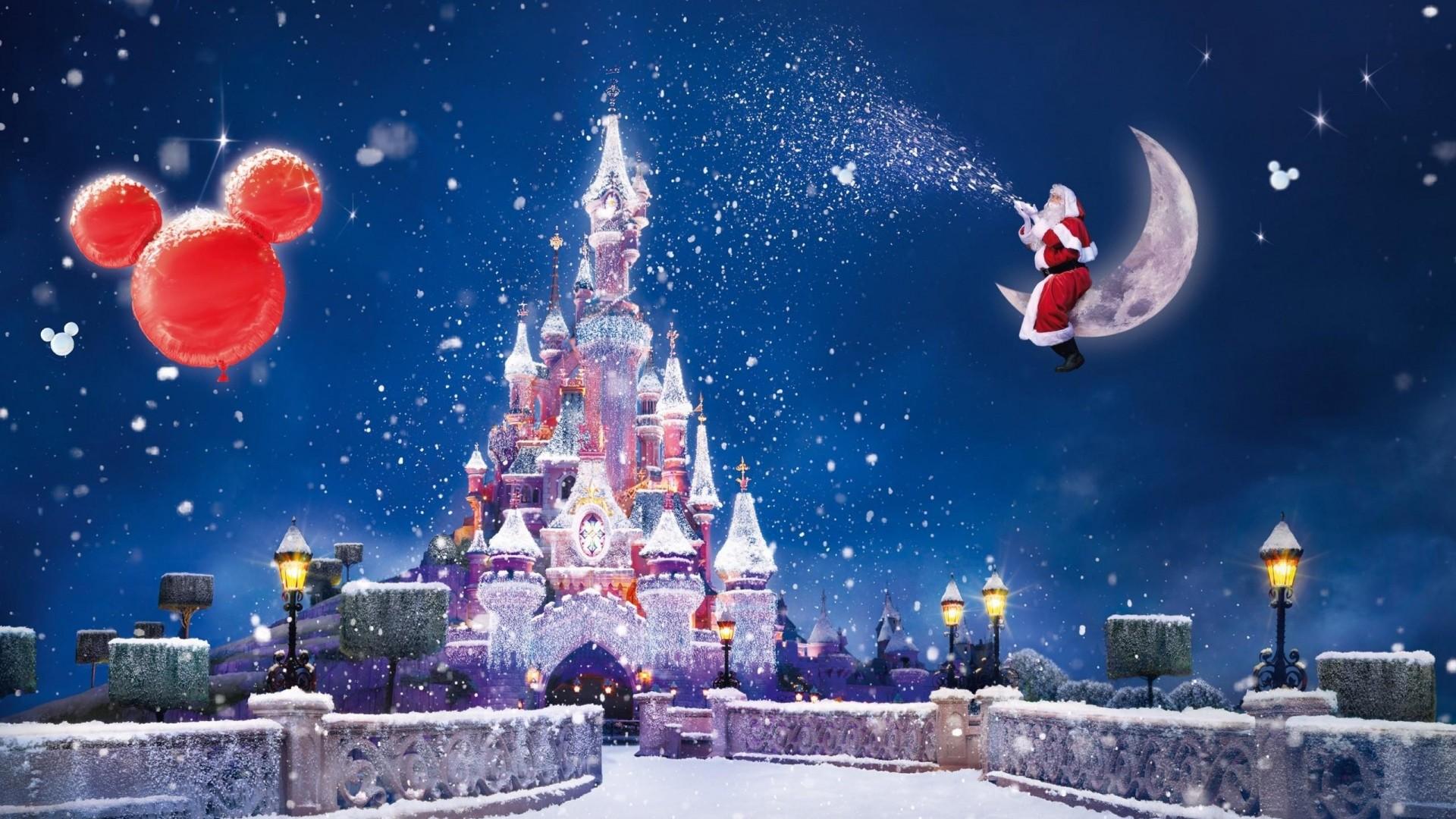 Preview wallpaper santa claus, magic, moon, snow, castle, balloons, holiday