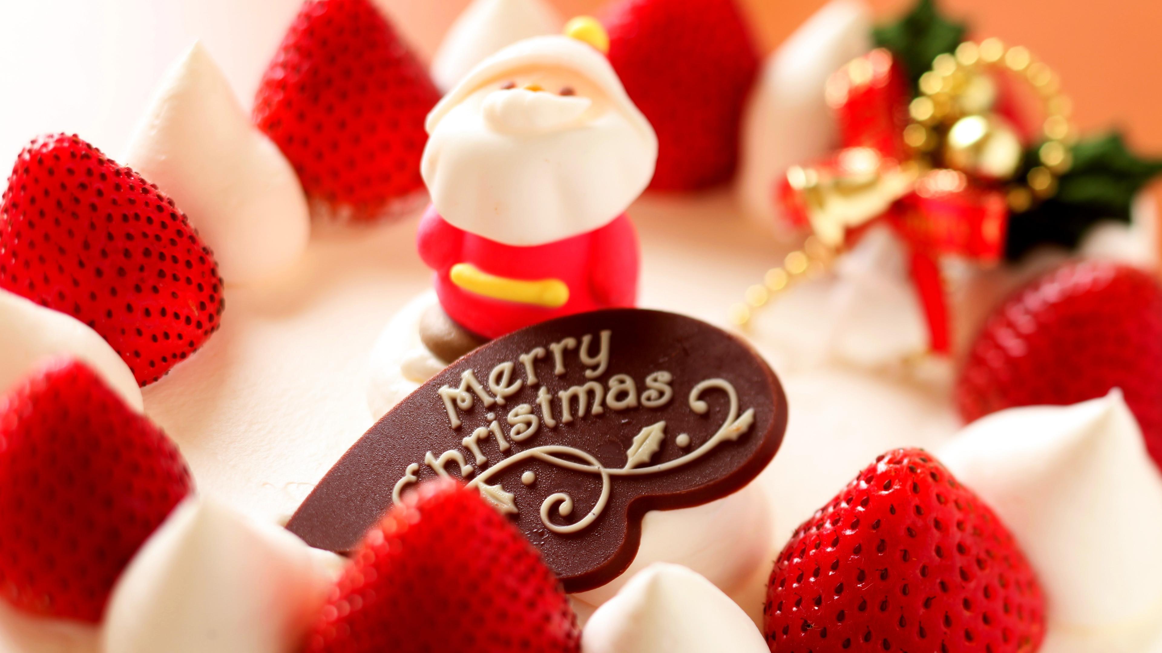 Merry Christmas, Strawberry dessert, Santa Claus, 4K