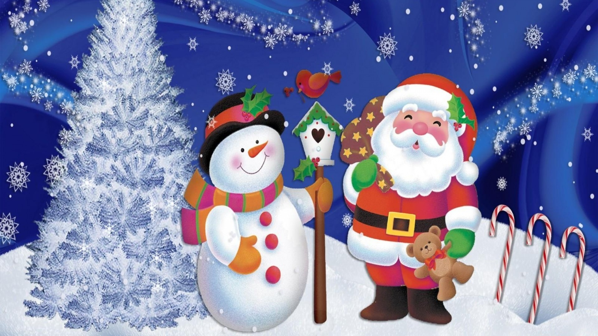 Wallpaper santa claus, snowman, christmas, tree, snowflakes,  postcard