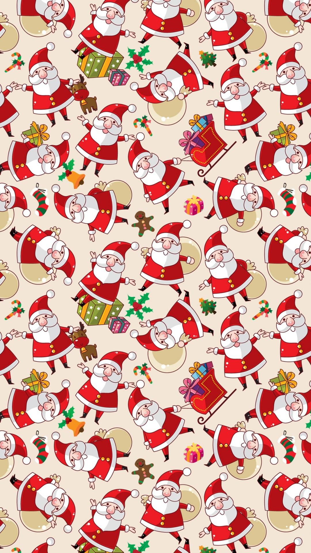 Santa Claus Pattern Texture Background iPhone 8 wallpaper