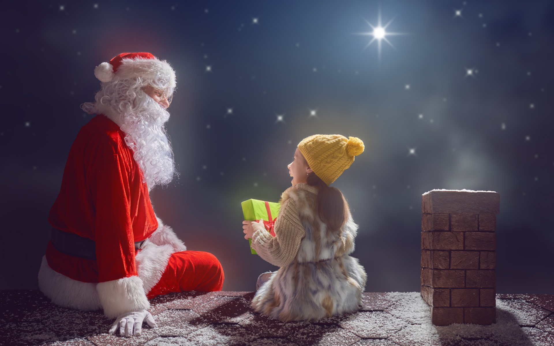 Download wallpaper night, merry christmas, santa claus, New Year,  Christmas, section