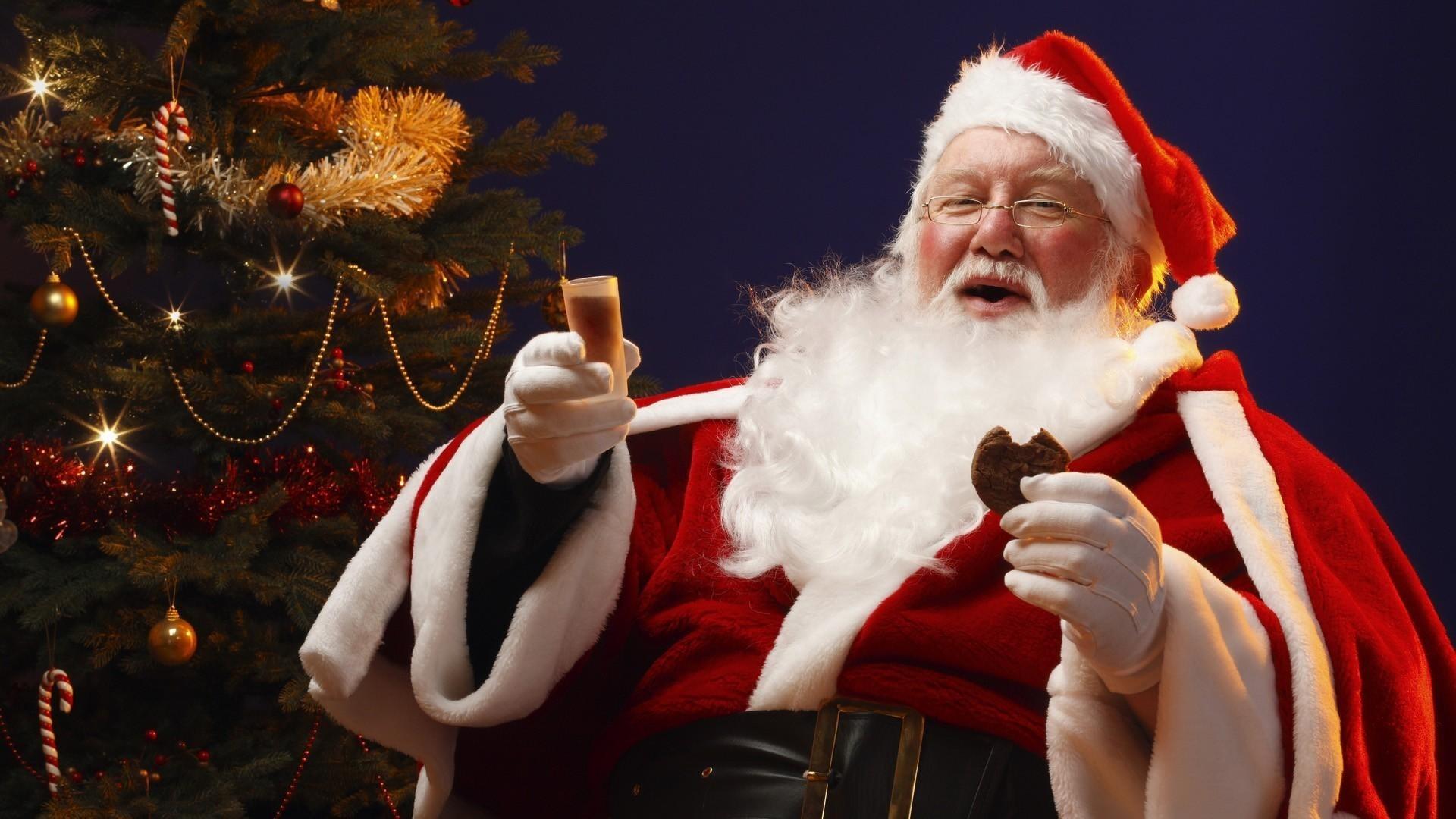 santa claus, christmas, cookies