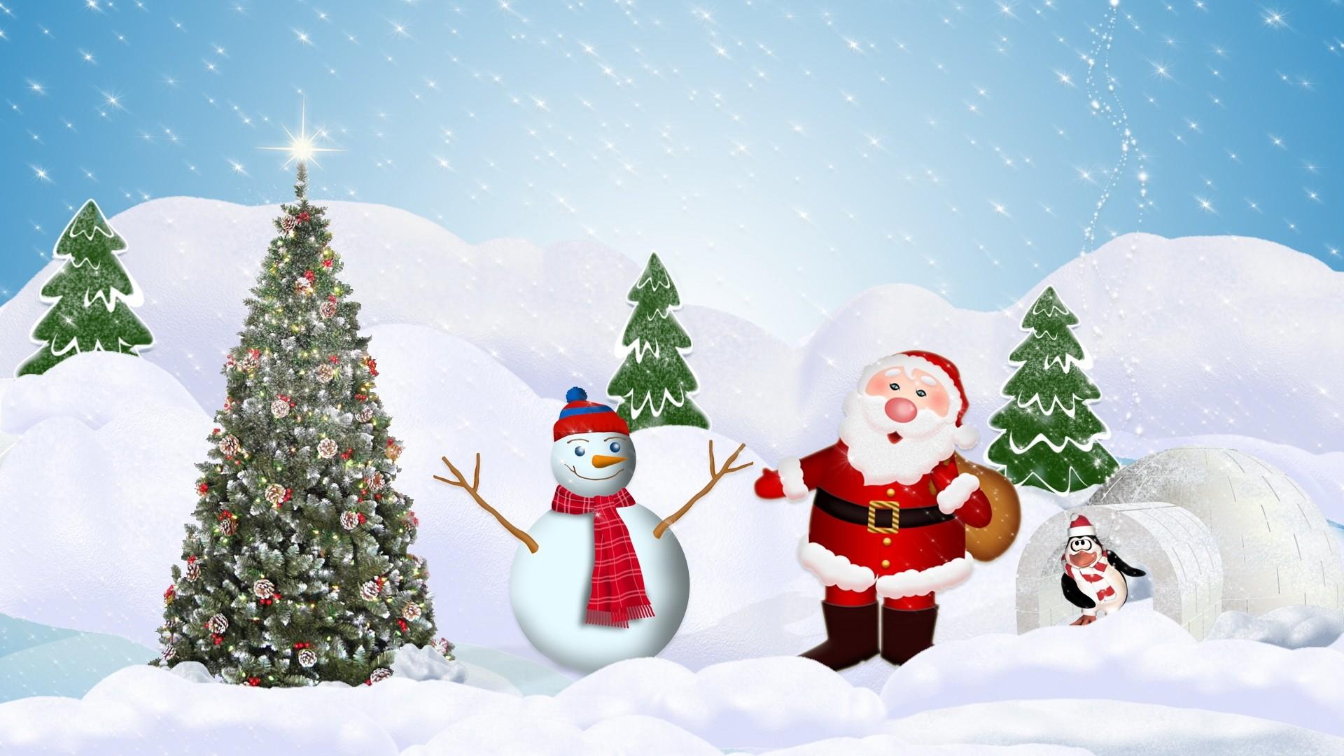 santa claus and snowman wallpaper 7353