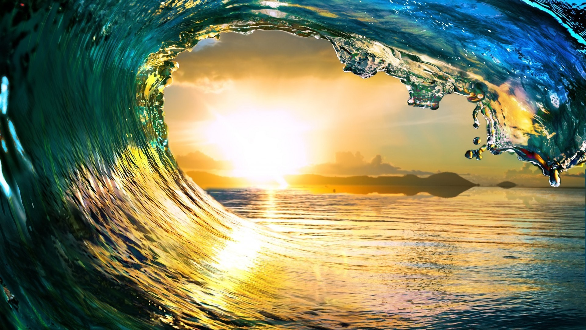 Free Ocean Waves Sunset Nature, computer desktop wallpapers, pictures,  images