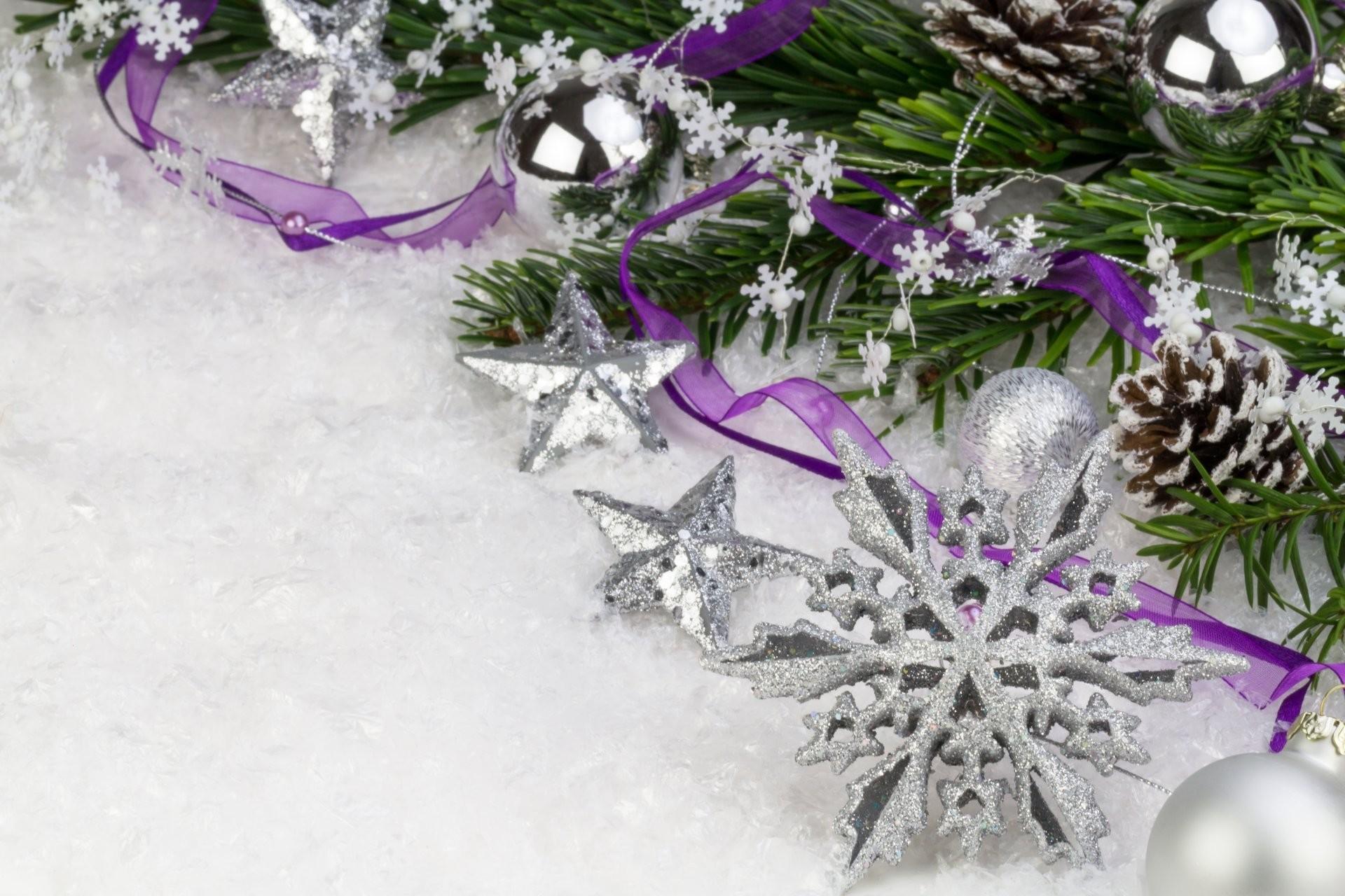 snowflake cone ribbon purple snow balls christmas star silver scenery  branch spruce new year christmas christmas