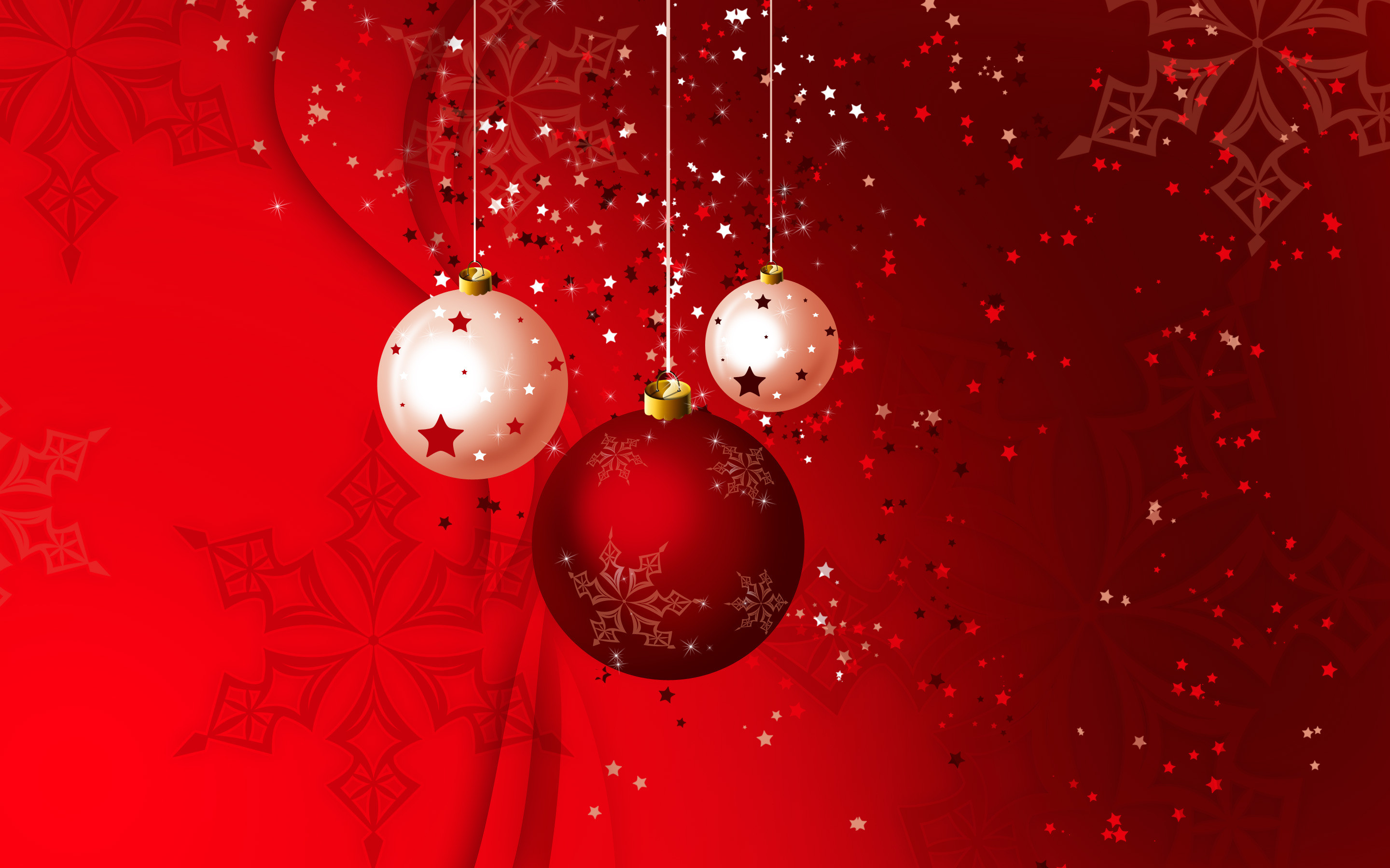 … and white Christmas globes HD Wallpaper 2880×1800