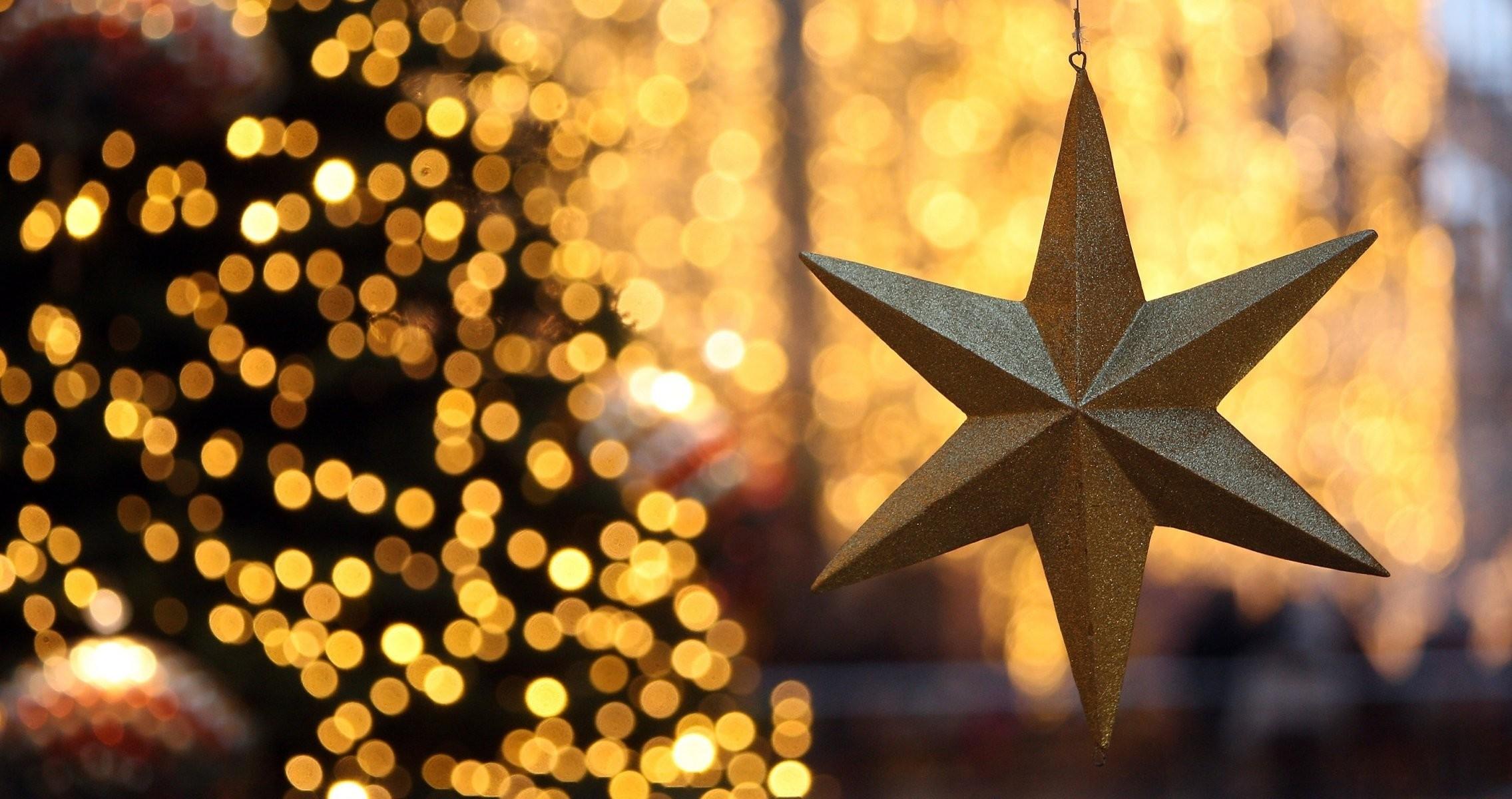 christmas star new year christmas tree decoration lights light