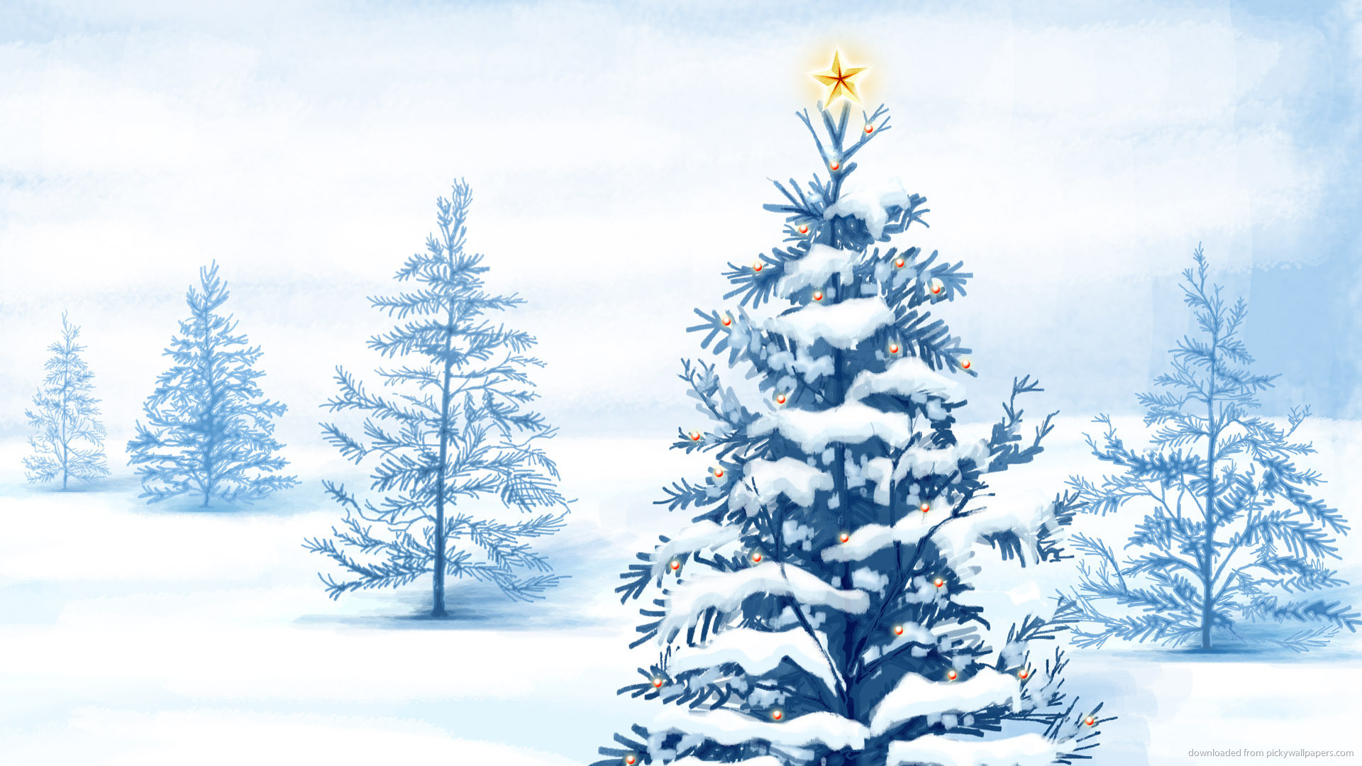 Natural Christmas Tree with star for 1920×1080