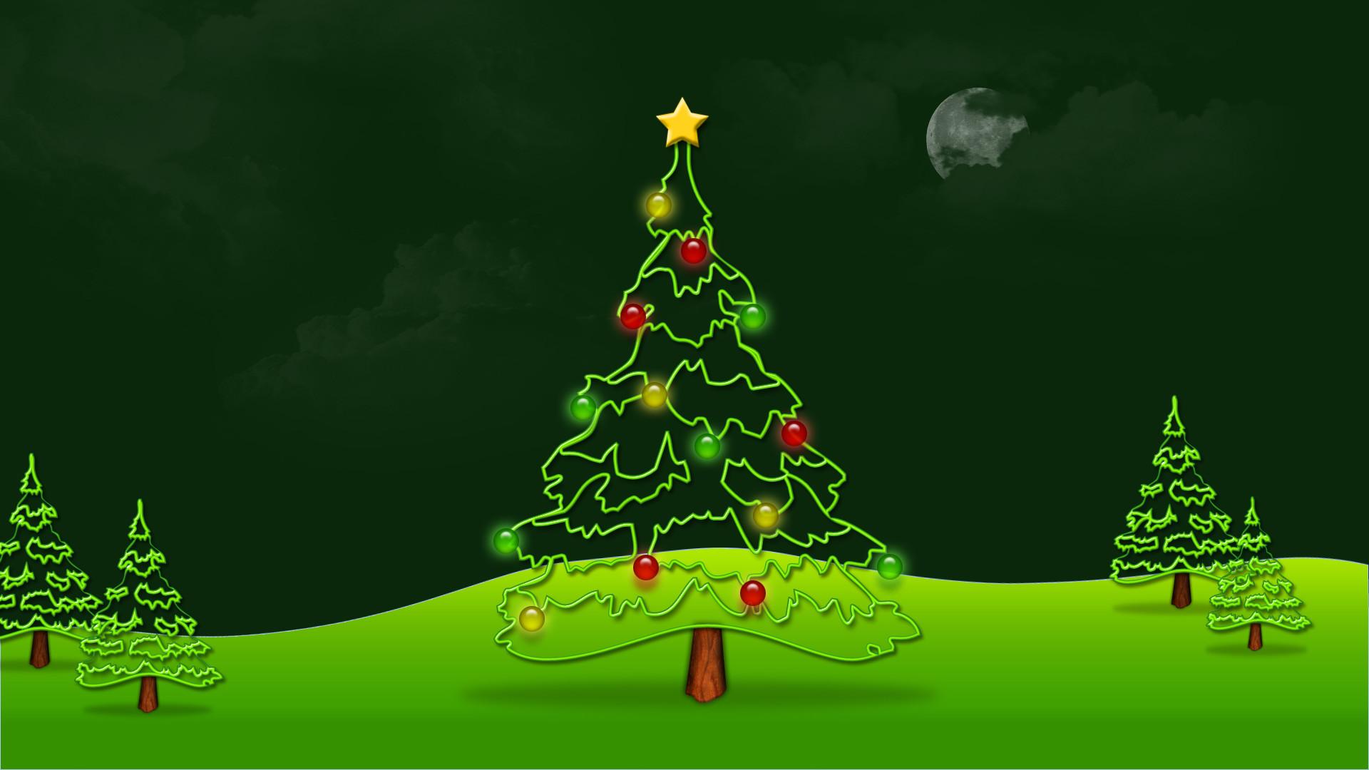Beautiful Green Merry Christmas Tree HD Wallpaper