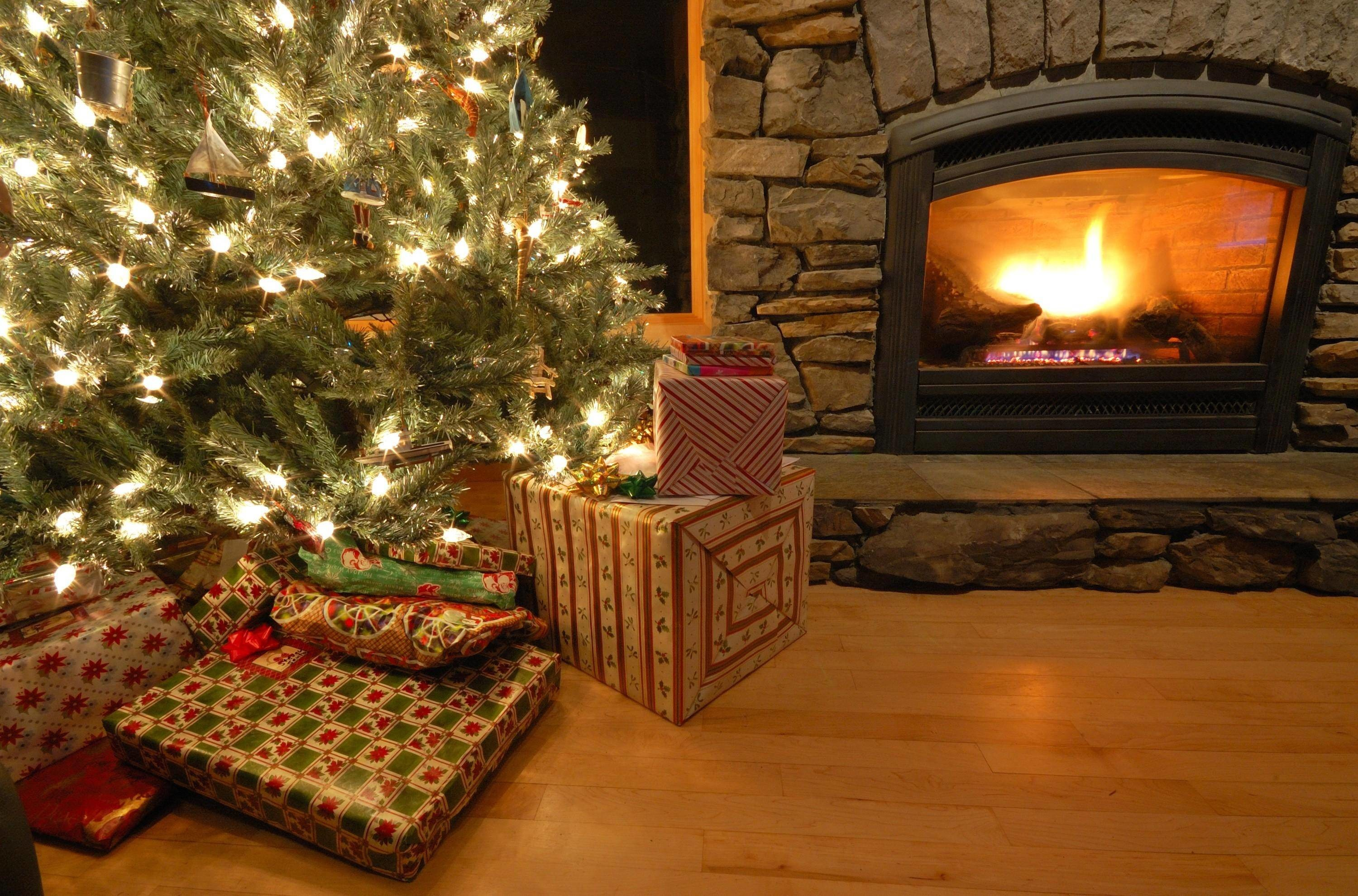 Xmas Stuff For > Christmas Tree And Fireplace Background
