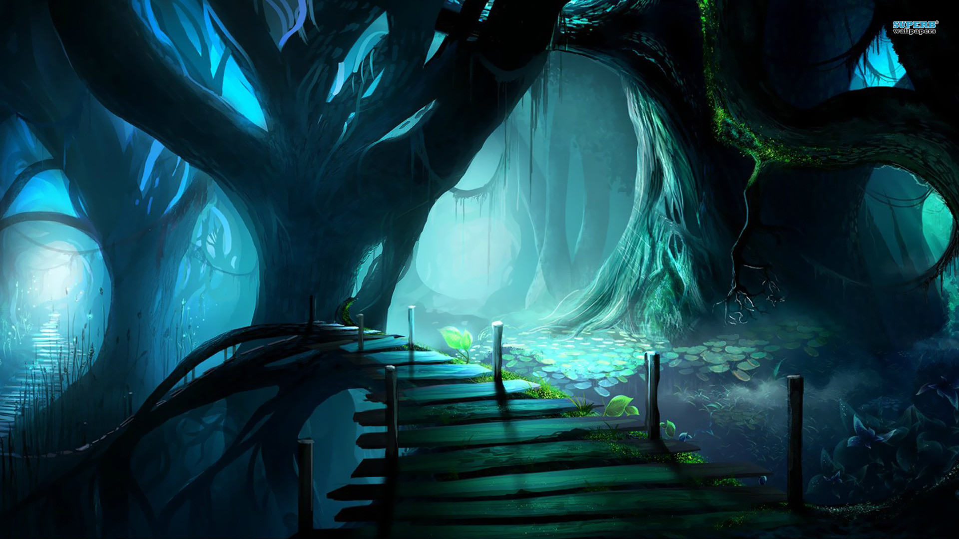 Druid forest / Path in a scary forest wallpaper
