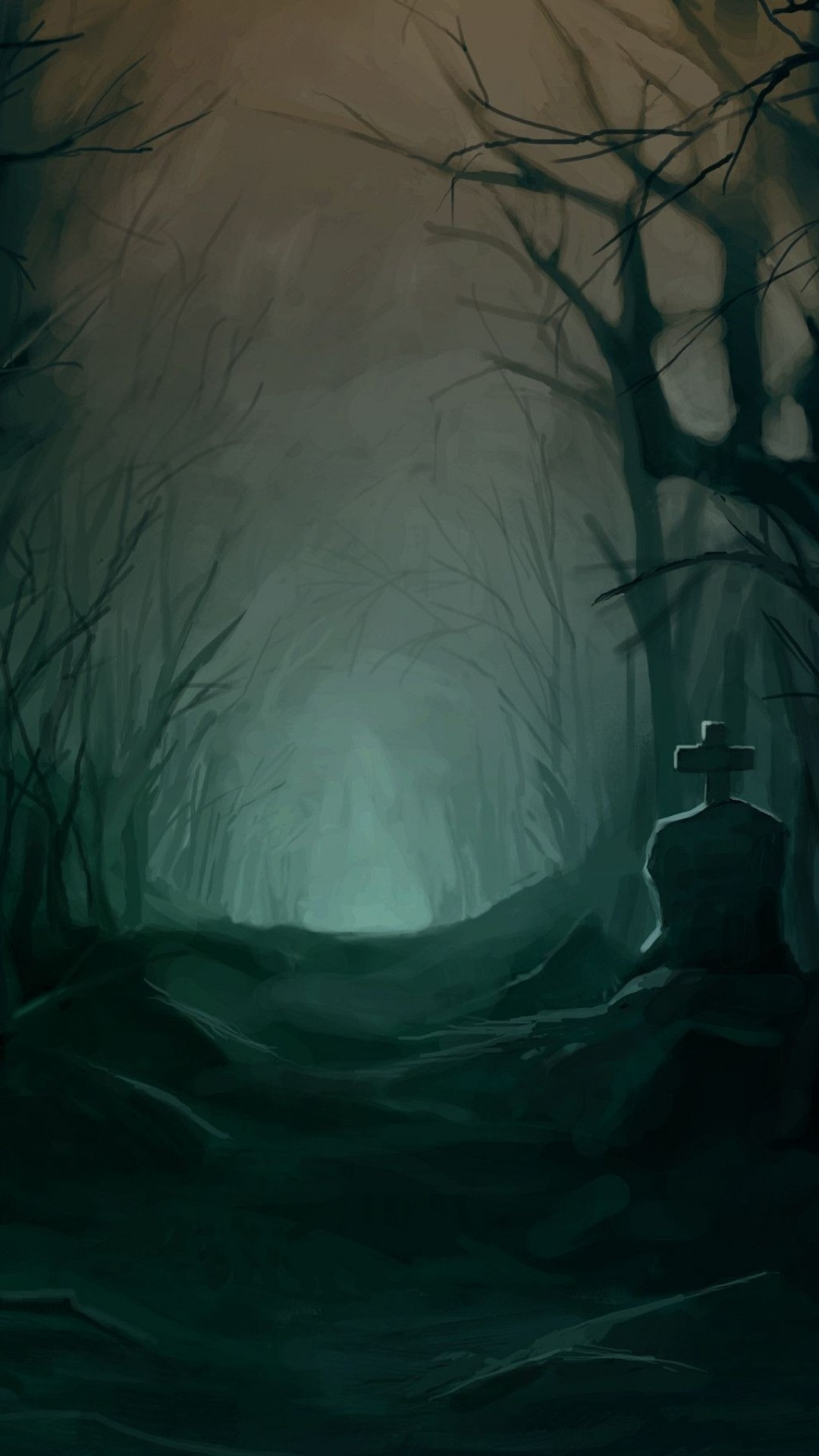 Dark Forest, Creepy, Grave, Path, Scary, Trees