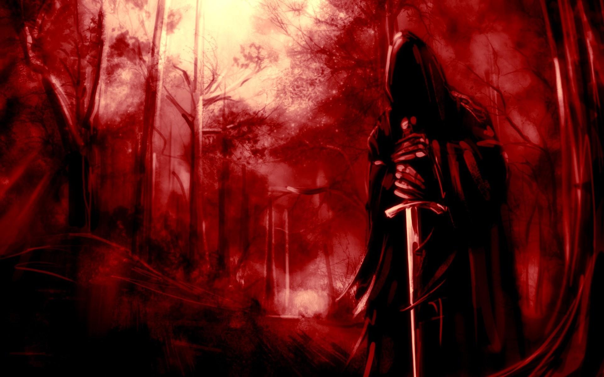 Dark Grim Reaper Horror Skeletons Skull Creepy Weapons Swords Trees Forest  Fantasy Wallpaper At Dark Wallpapers