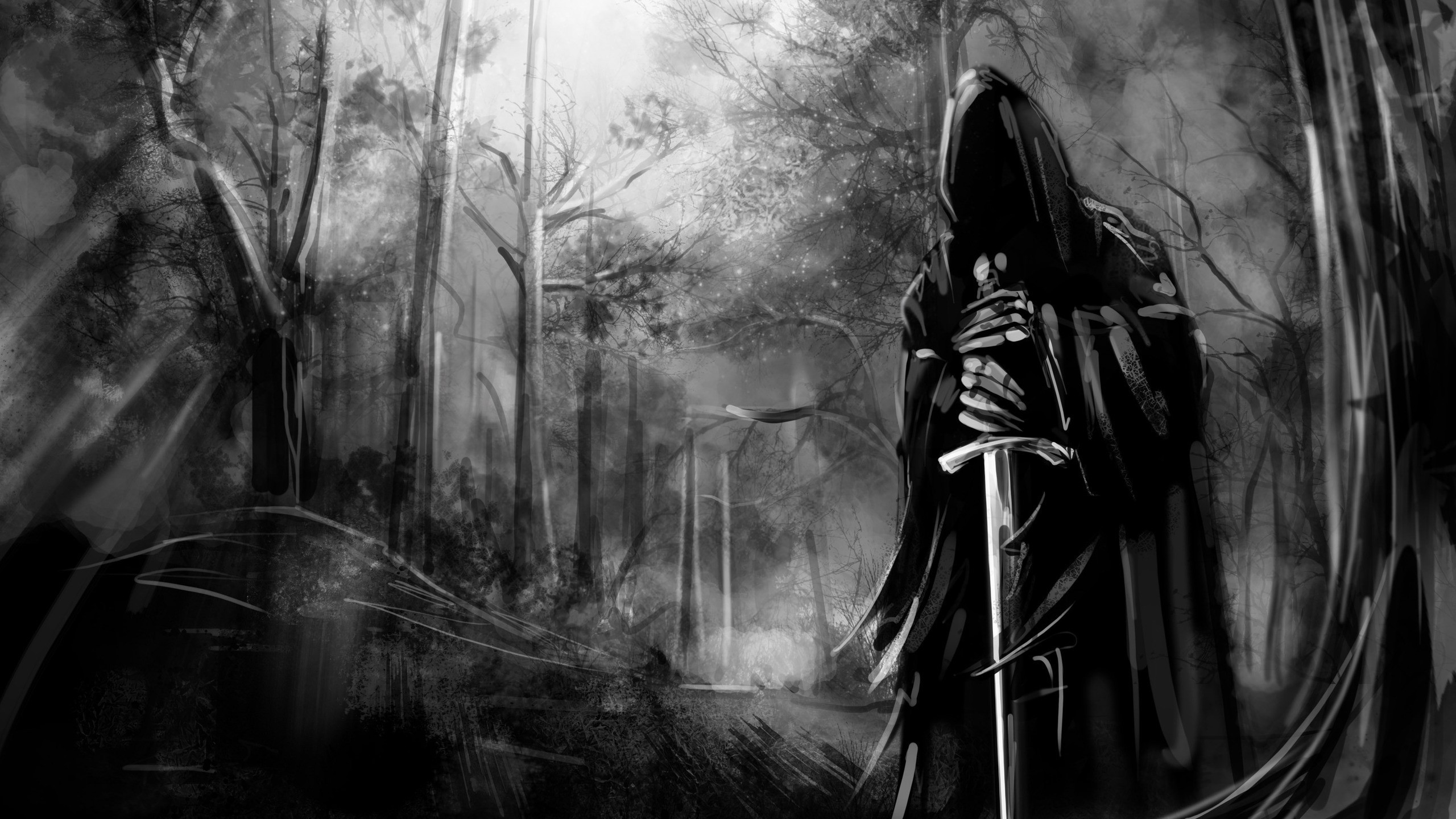 Dark Forest, Black And White, Sword, Scary
