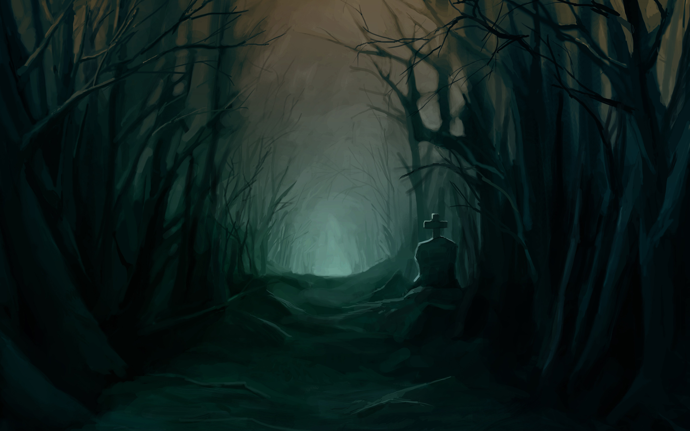 Tombstone Dark Halloween Trees Forest Woods Night Scary Spooky Creepy Glow  Cemetery Grave Landscapes Wallpaper At Dark Wallpapers