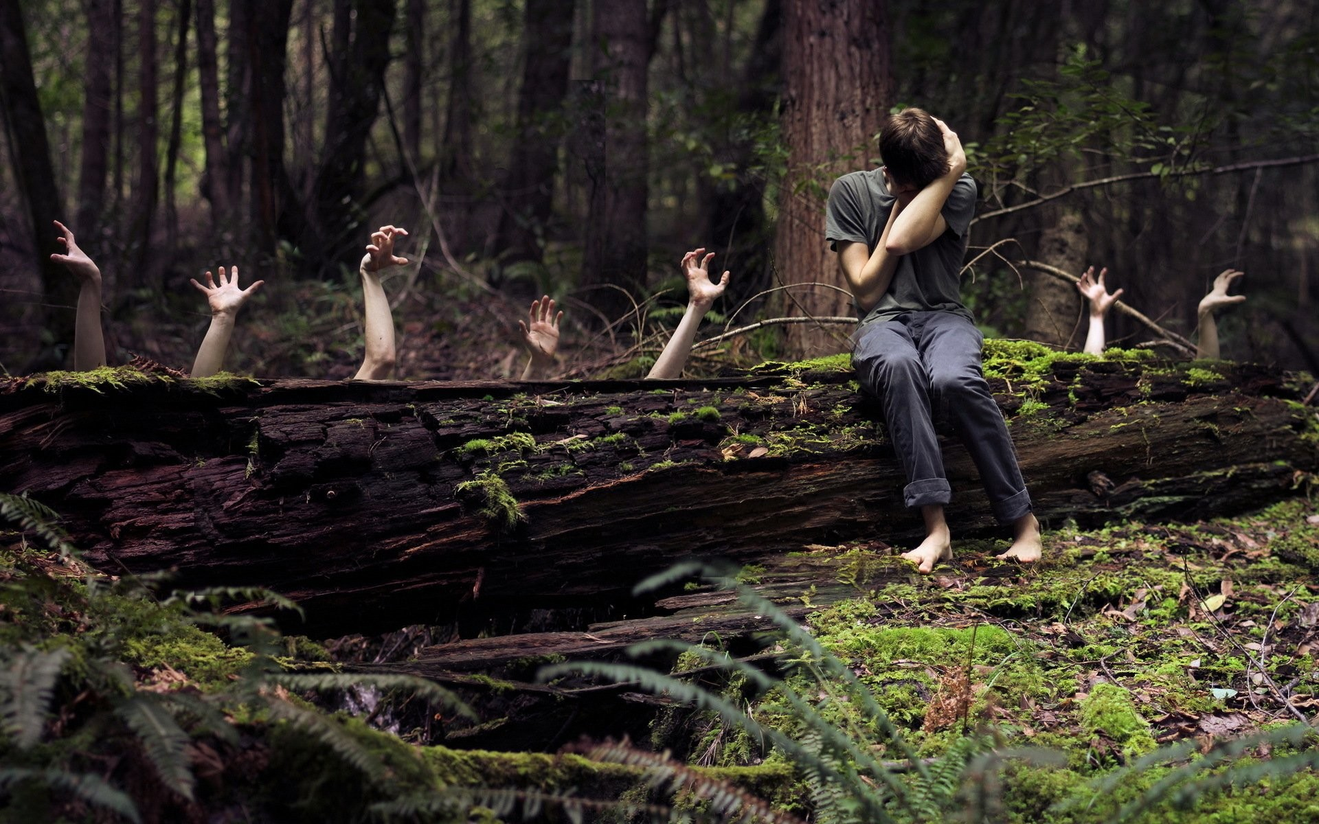 Creepy Hands In The Forest