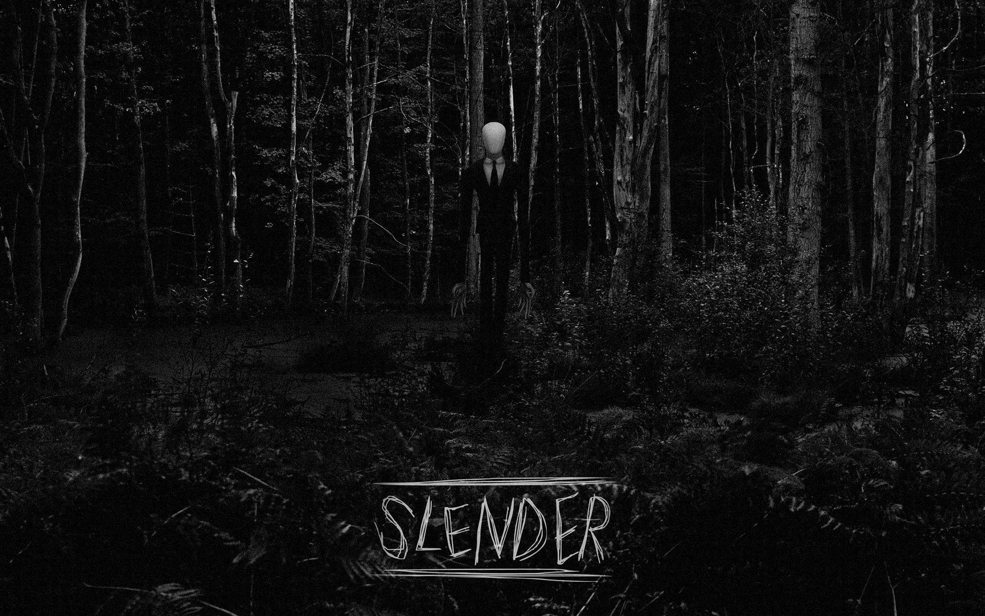Slender Man BW Forest Creepy trees black white dark videogames .