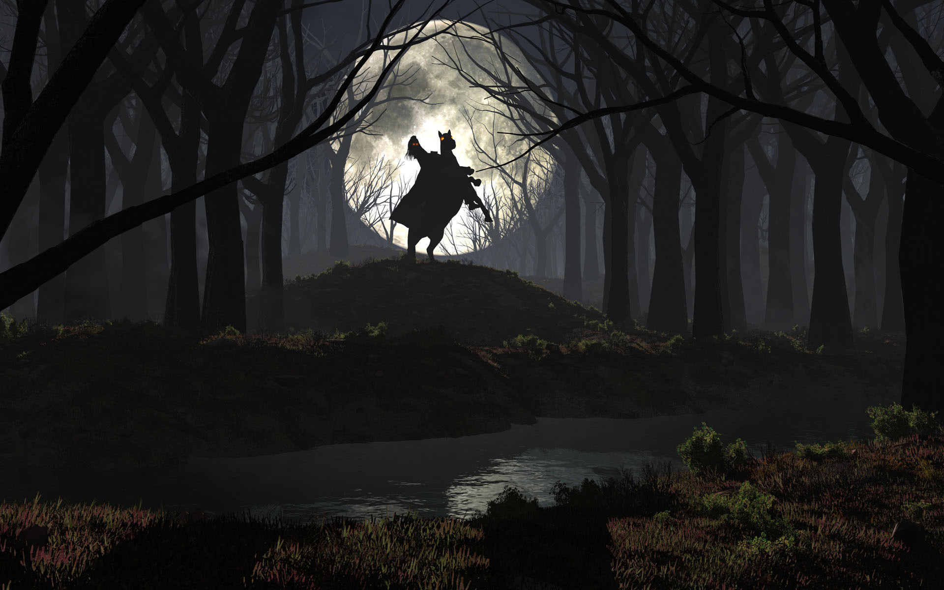 Rider in the spooky forest wallpaper, Rider in the spooky forest Fantasy HD  desktop wallpaper