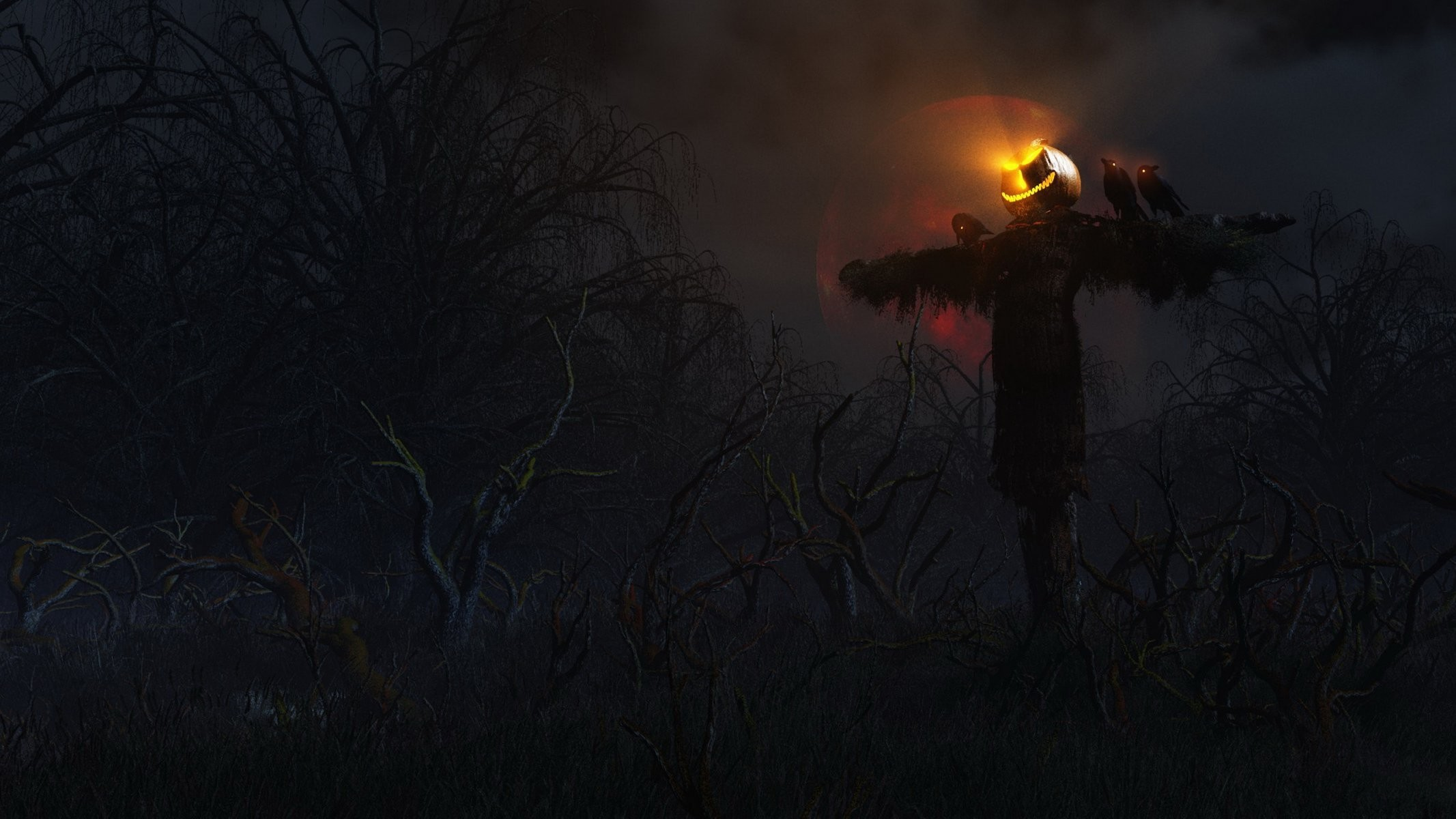 wallpapers from lolita777 halloween pumpkin stuffed head forest darkly  scared creepy night raven moon forest tree