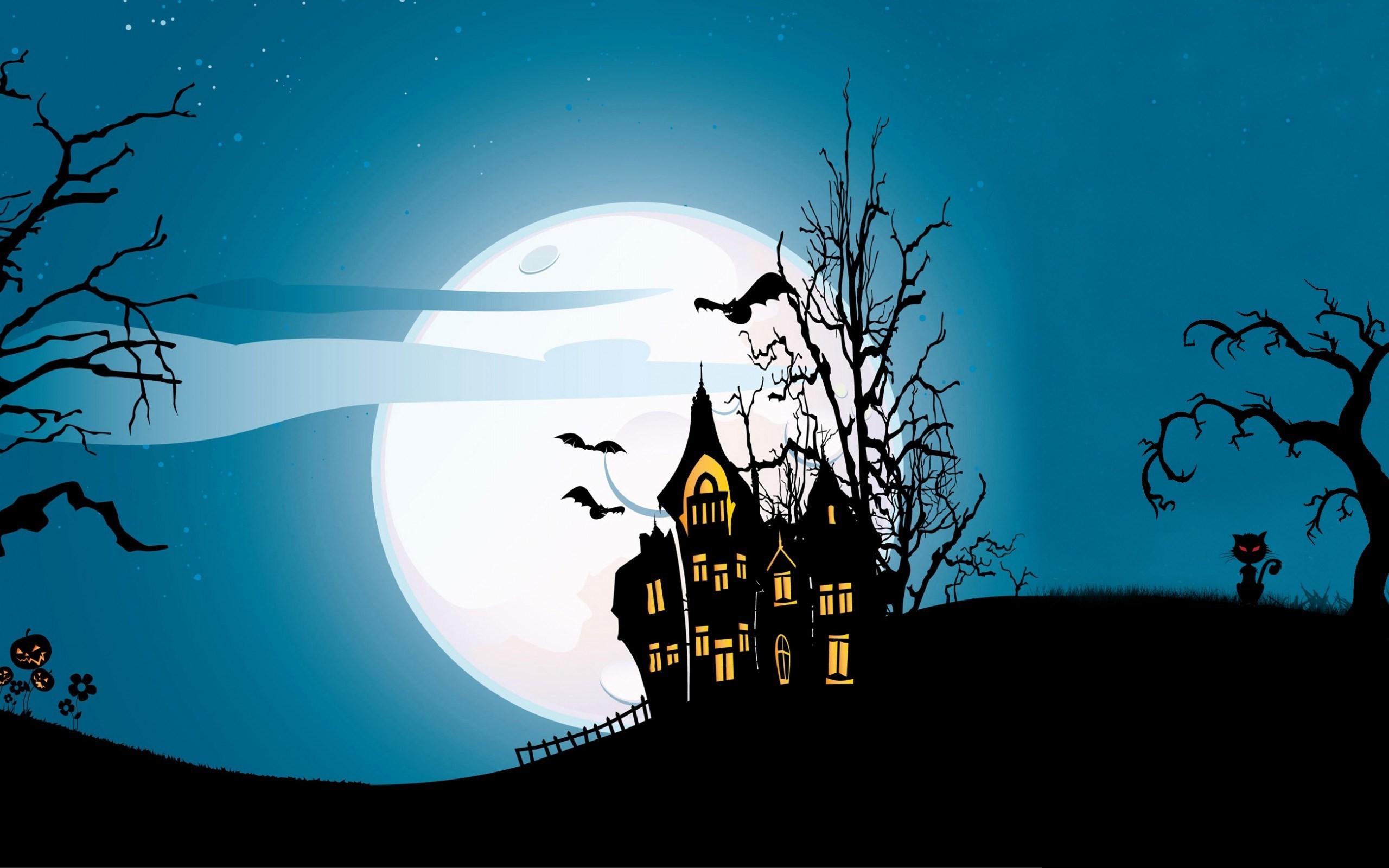 Halloween Creepy Scary Pumpkins Bats House Full Moon Midnight. 2560×1600.  Hd Wallpaper