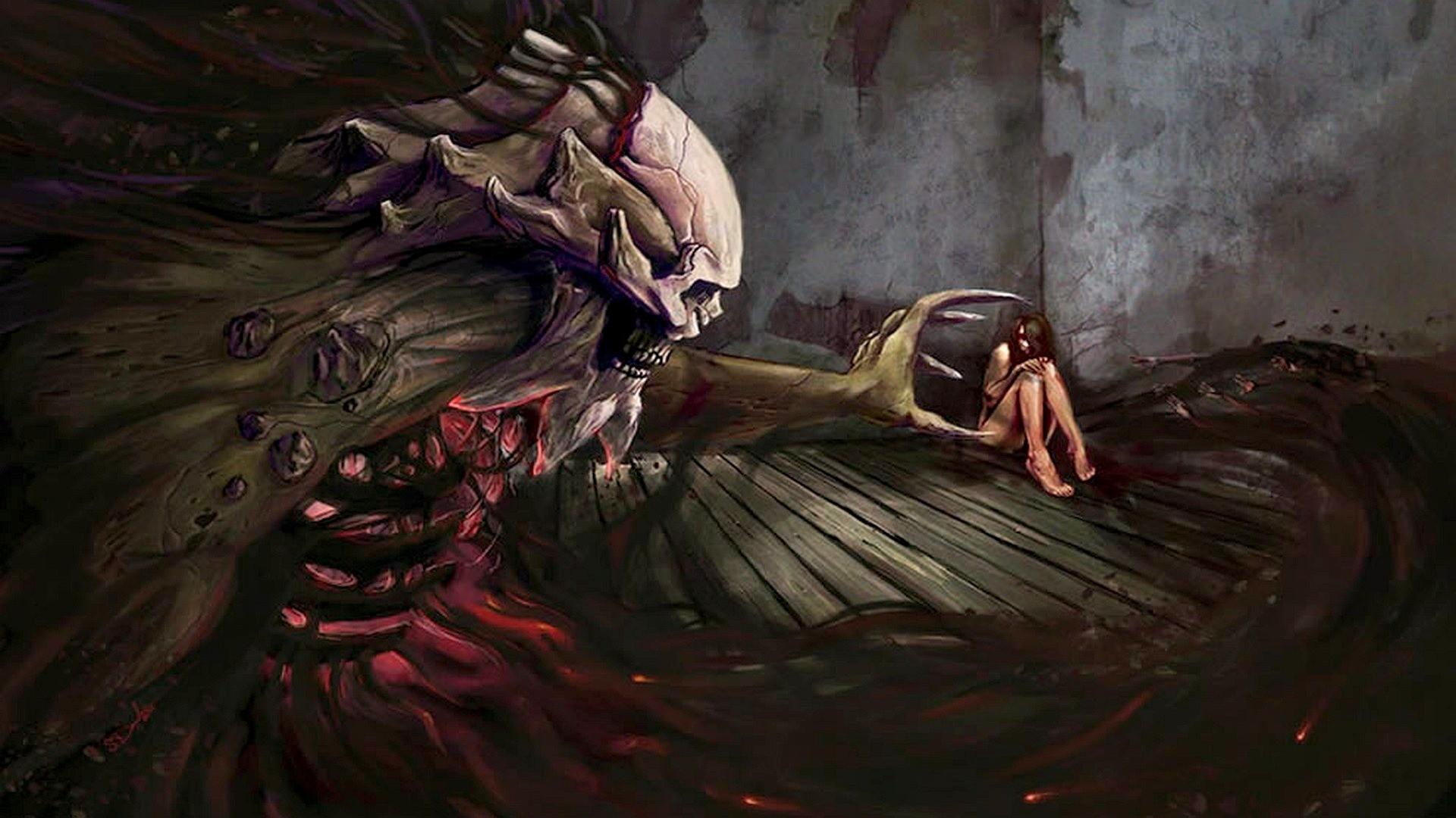 dark horror evil demon skull skeleton macabre gothic women girl mood .