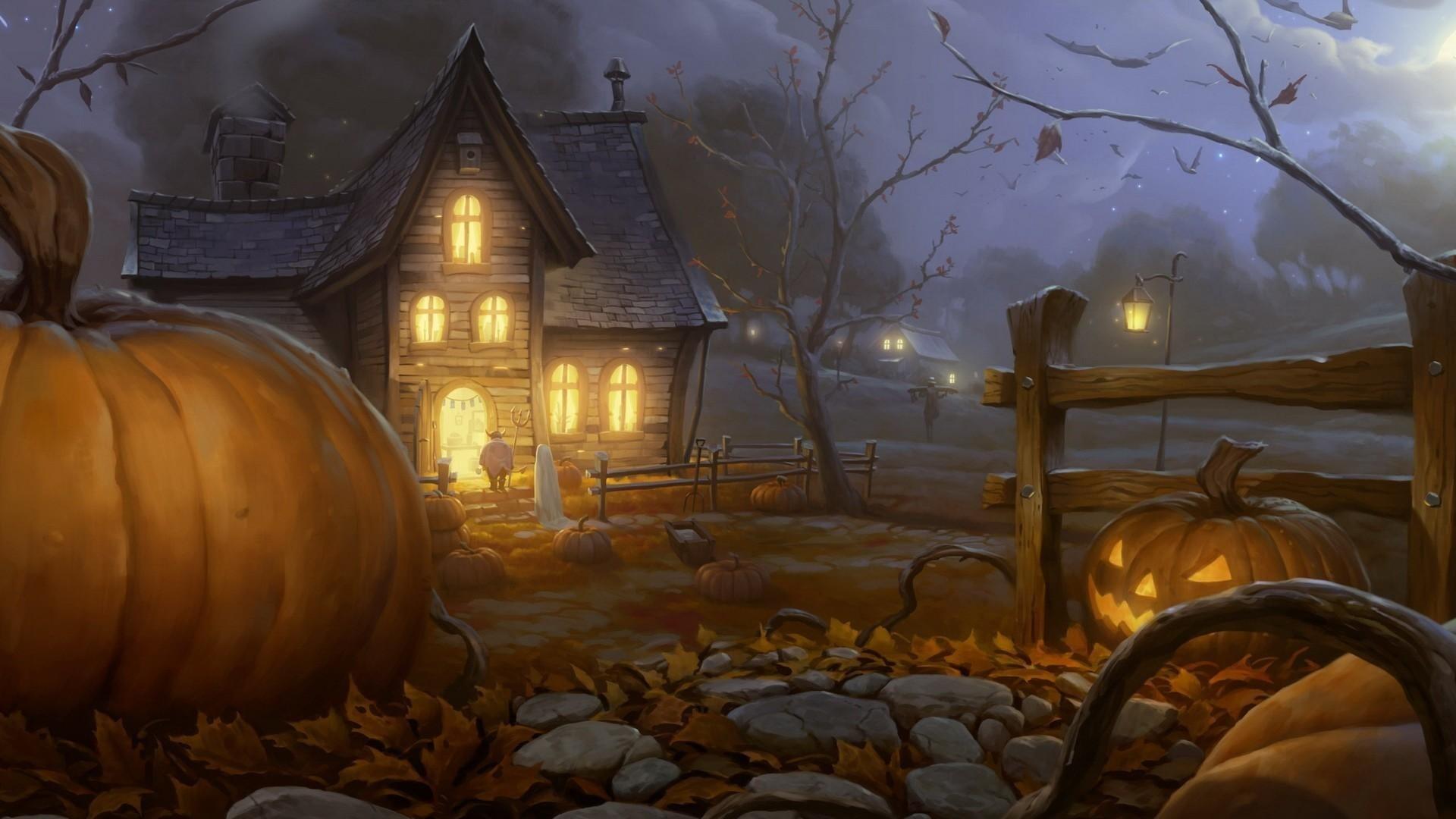 Preview wallpaper halloween, holiday, night, home, light, pumpkin, lantern  jack