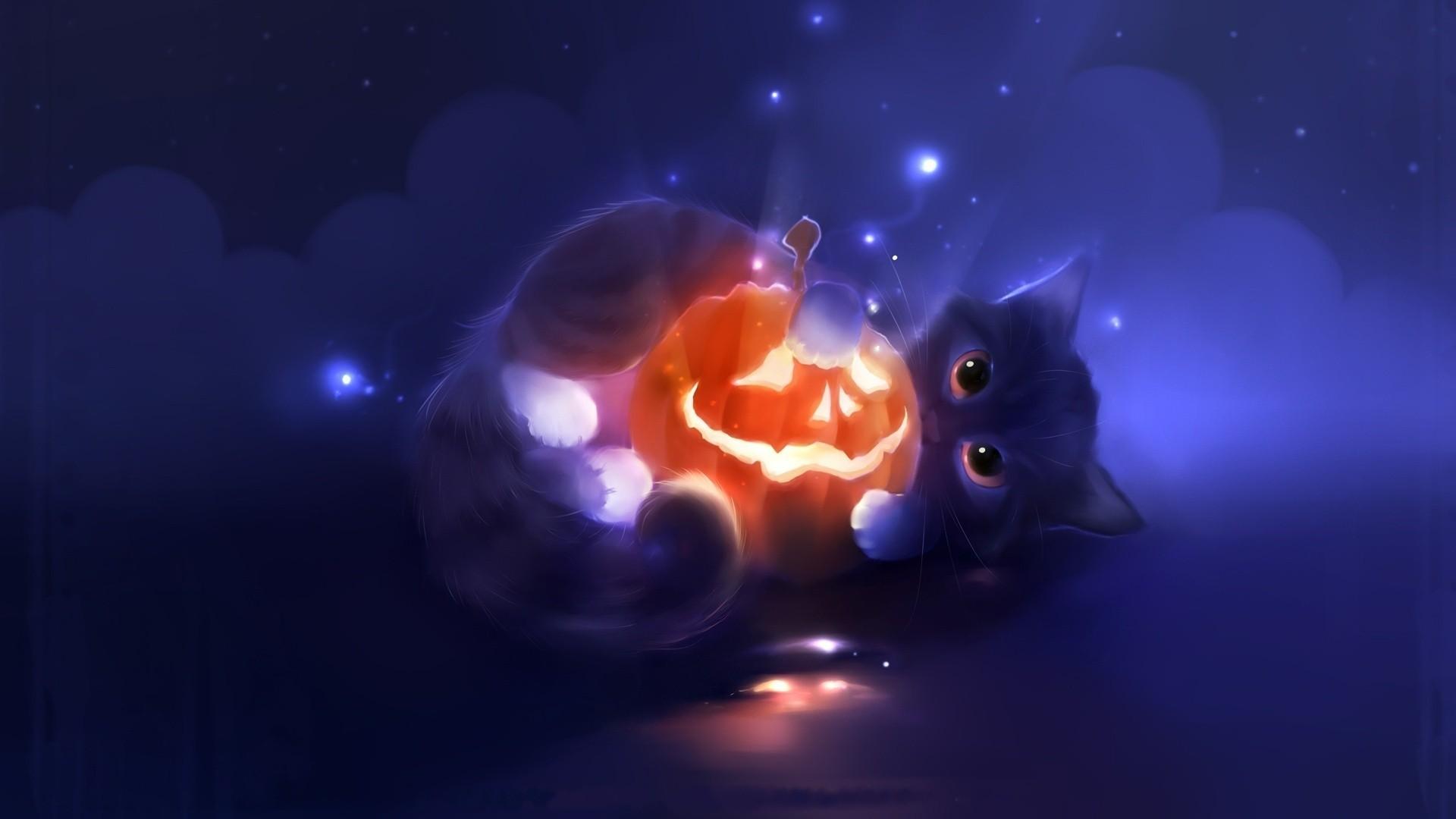 Holiday – Halloween Dark Cat Pumpkin Wallpaper