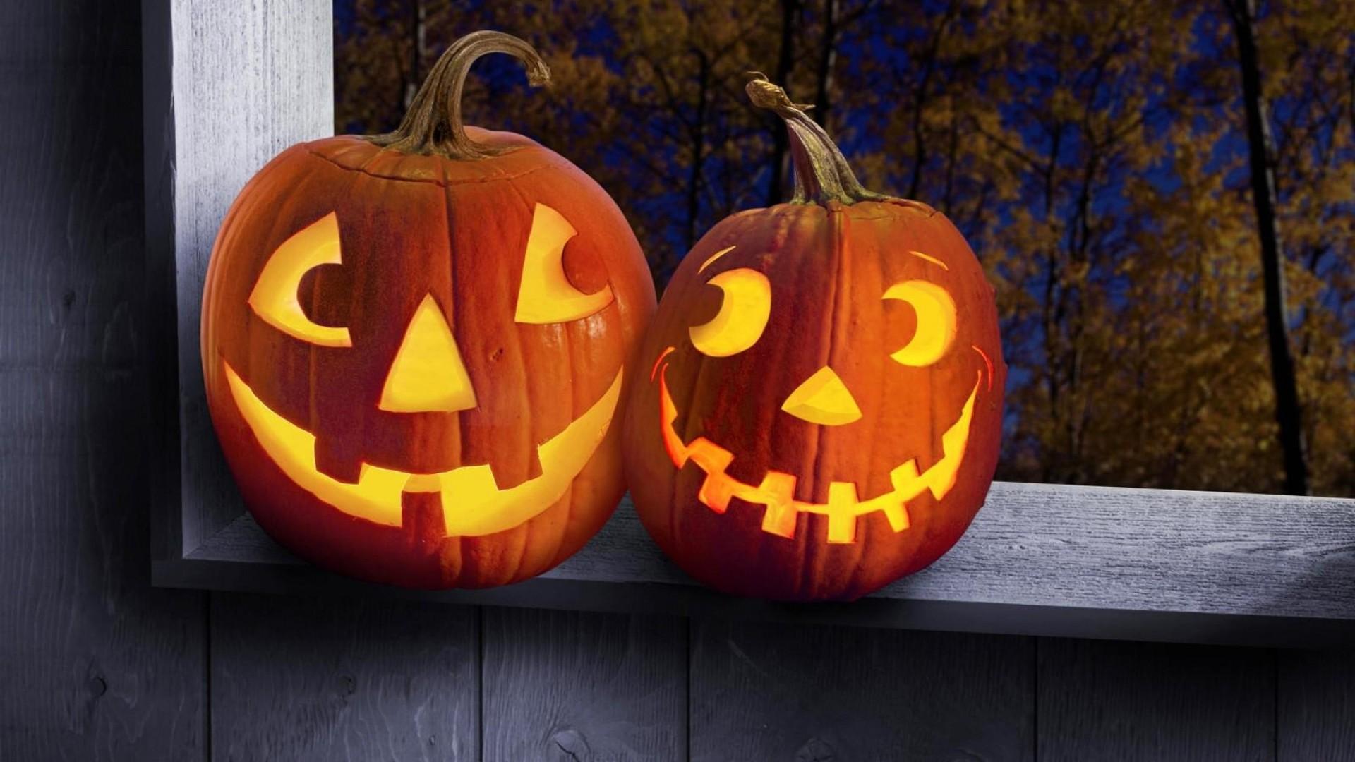 Wallpaper halloween, holiday, pumpkin, steam, box, trees