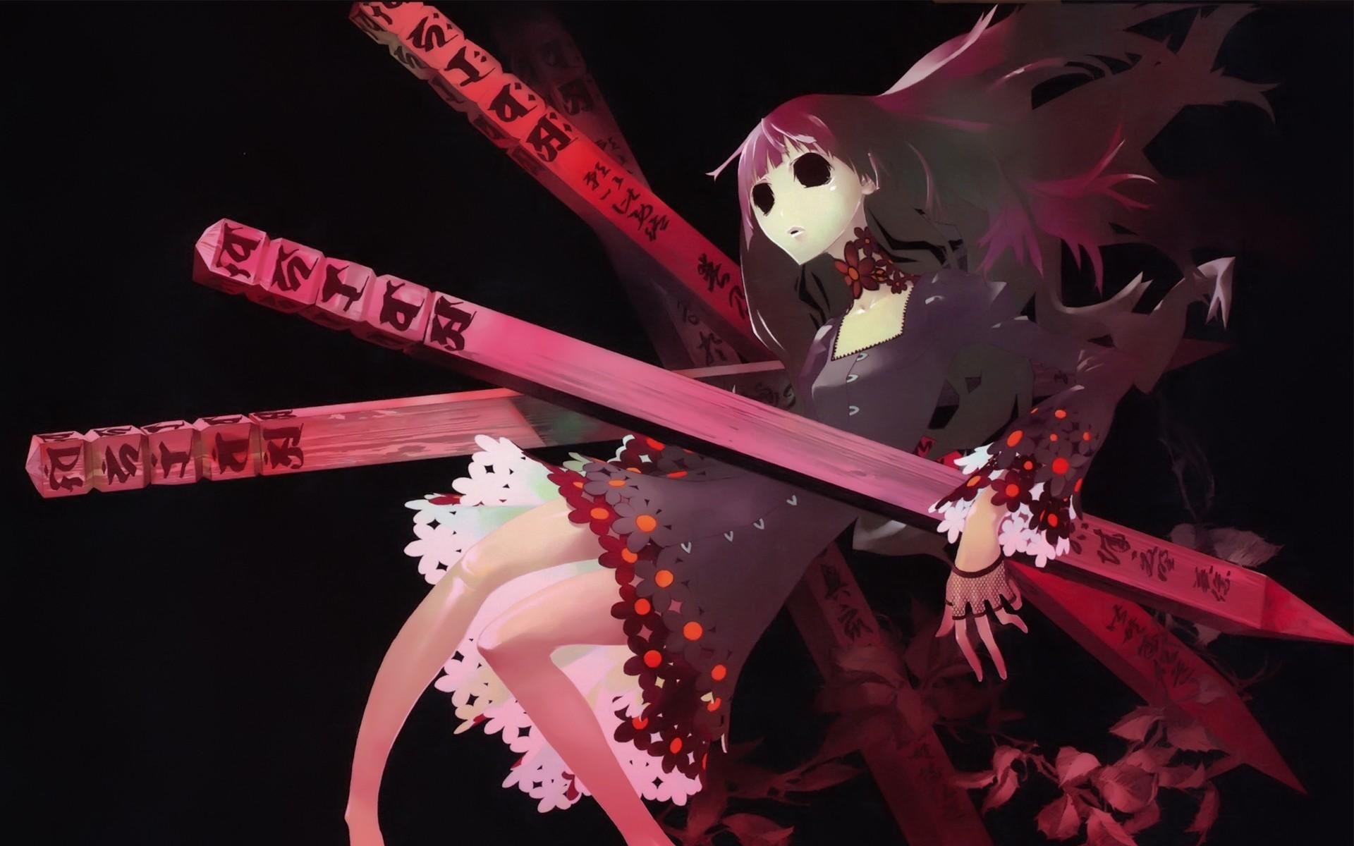 Creepy Cute Anime Girl Creepy flowers wallpaper