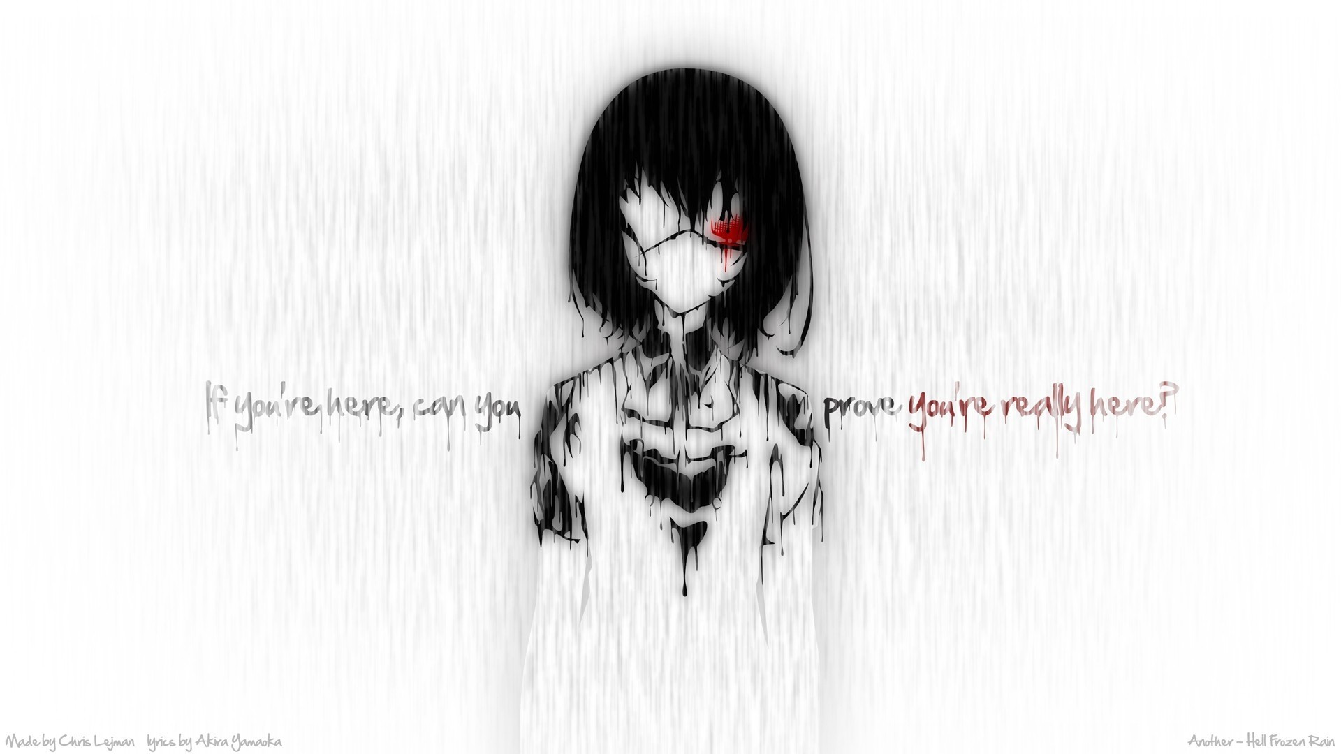 Creepy rain blood quotes eyepatch typography anime anime girls another anime  series misaki mei bla Wallpaper