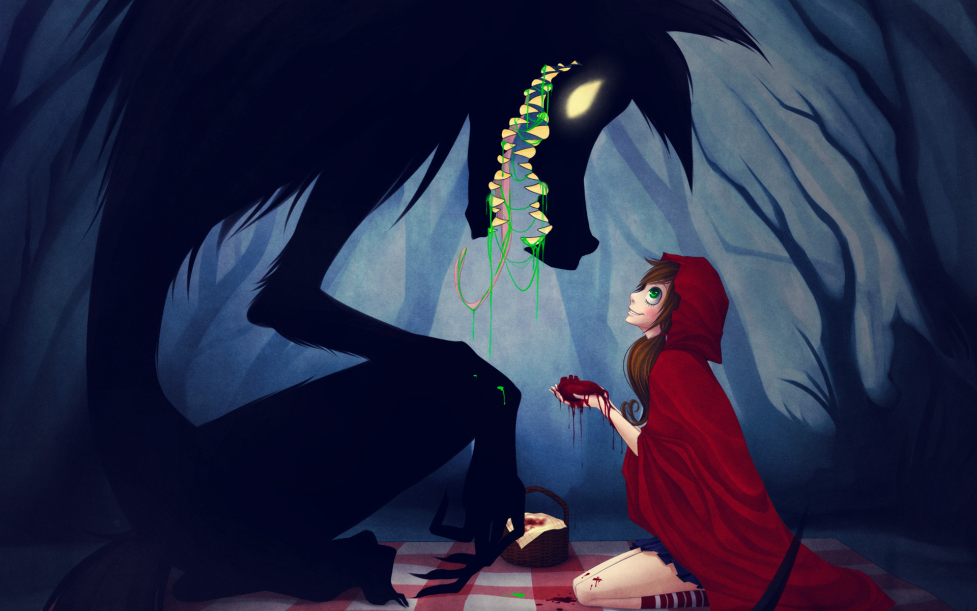 Red-Riding-Hood anime animals wolves trees forest women girls dark creepy  spooky fangs wallpaper | | 23904 | WallpaperUP