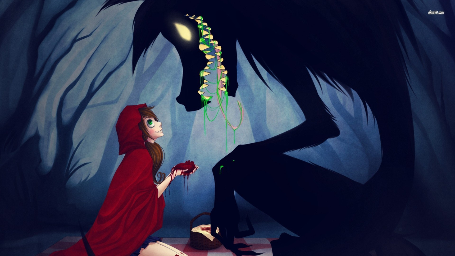 Creepy Red Riding Hood and the wolf wallpaper