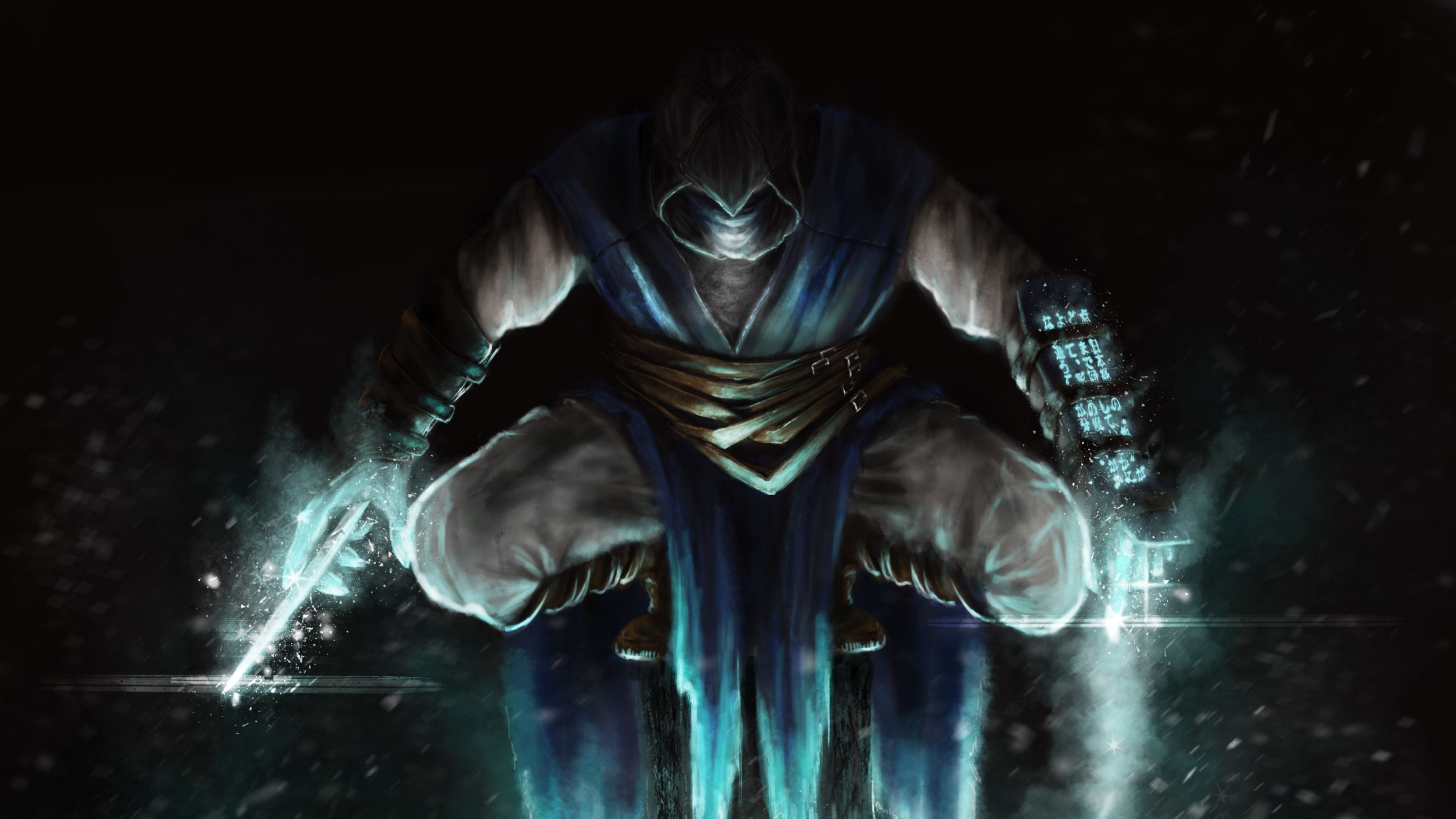 Download Wallpaper Mortal kombat, Sub-zero, Jump, Art 4K .