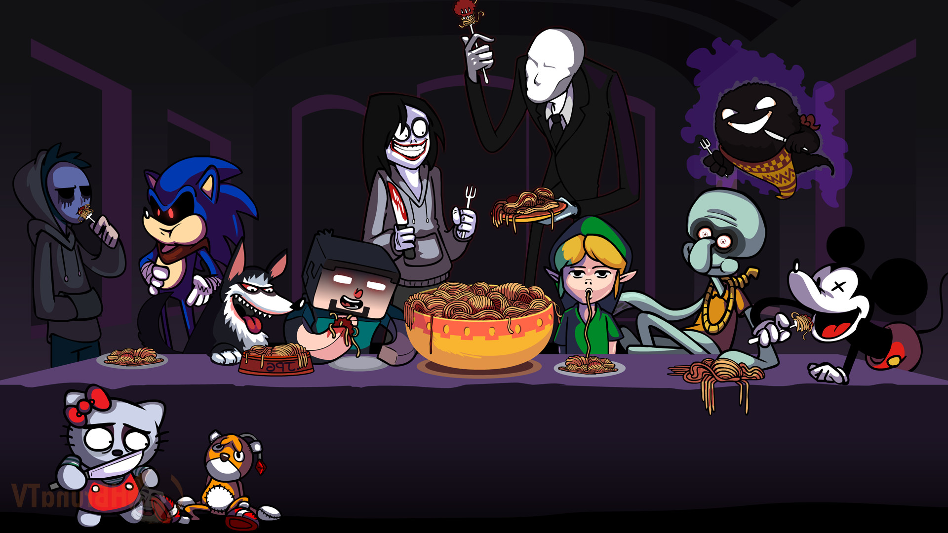 video Game Characters, Mickey Mouse, Ghast, Link, Sonic The Hedgehog,  Spaghetti