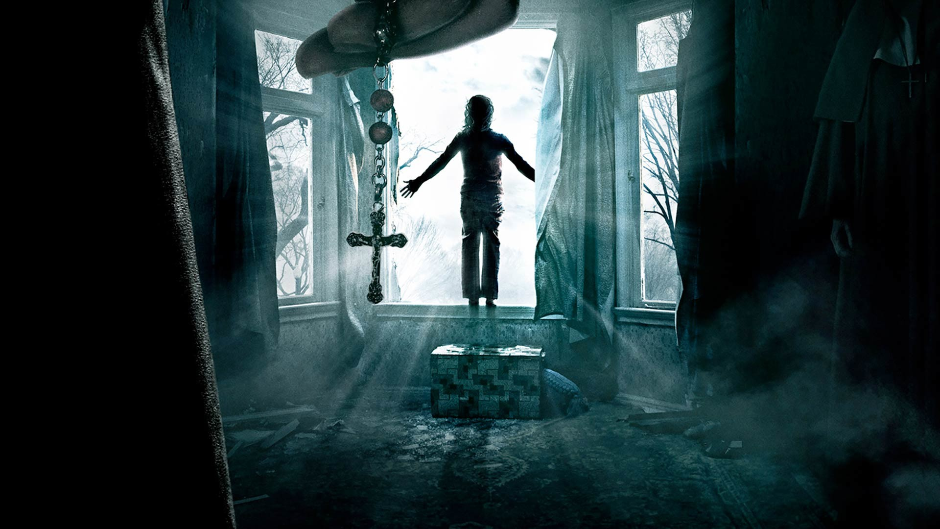 Preview wallpaper the conjuring, horror, window, cross 1920×1080