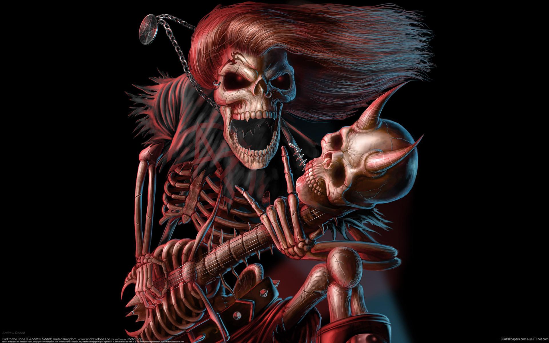 Dark music reaper skeleton skull guitars evil scary spooky halloween horns  fantasy bones scream smile grimace wallpaper | | 25756 |  WallpaperUP