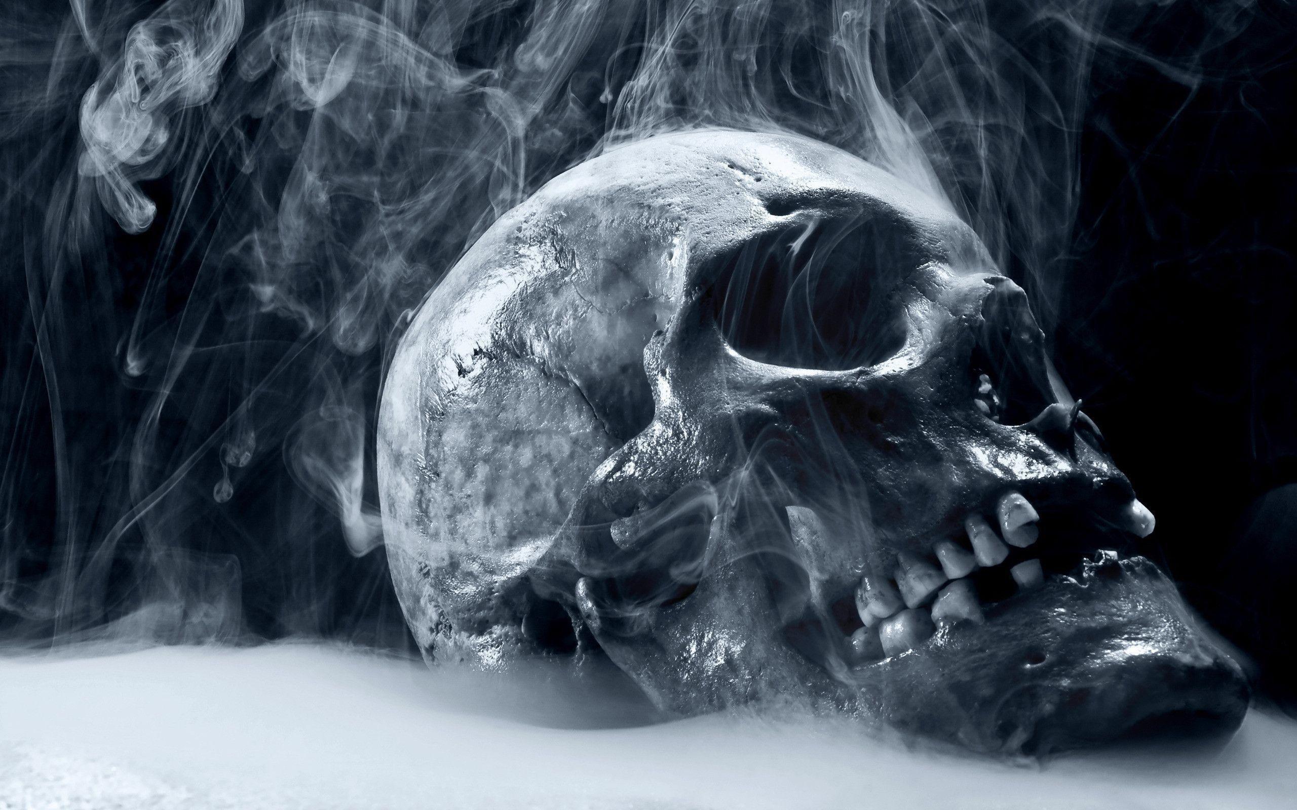 Skull Smoke Blue Scary Death wallpaper #