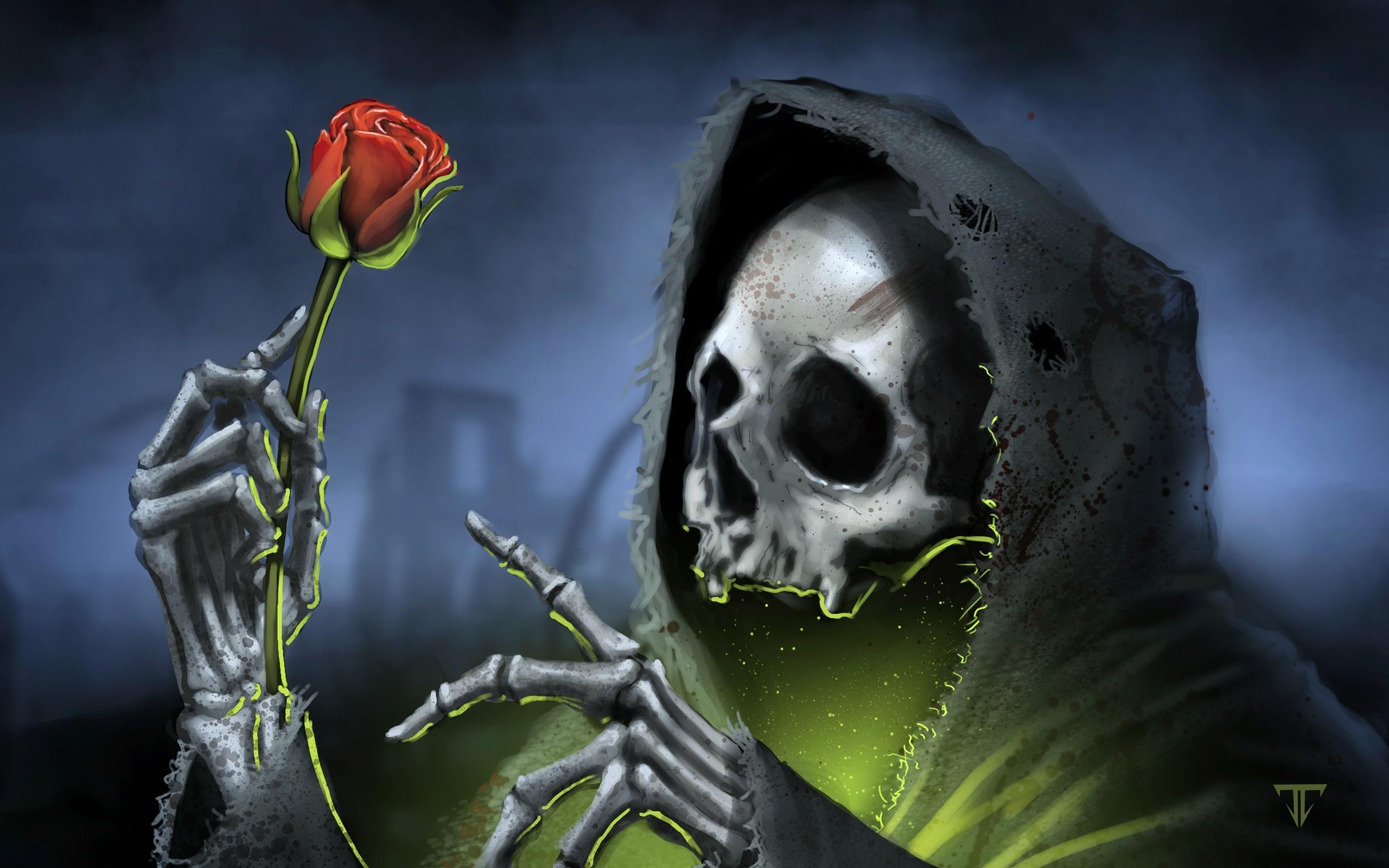 Download Dark Gothic Skull Skulls Reaper Grim Roses Rose Death Skeleton  Wallpaper At Dark Wallpapers
