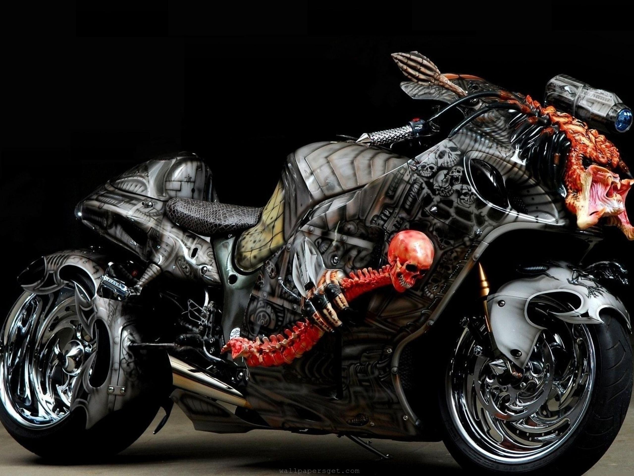 Crazy suzuki hayabusa tuning motorbikes 2560 1920 wallpaper Vehicles  Motorcycles HD skull wheels chrome skeleton dark scary colors stance custom  wallpaper …