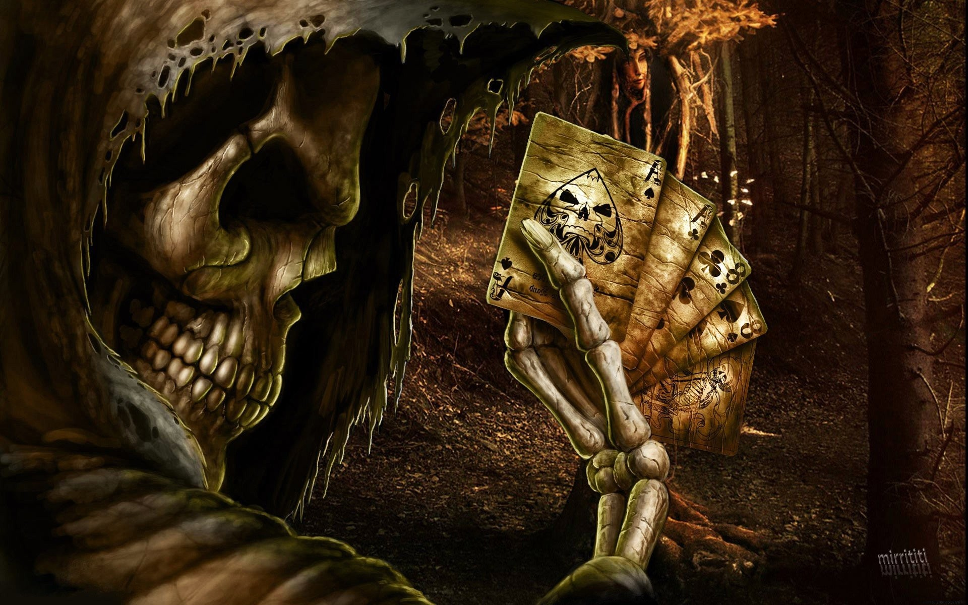 Dark Grim Reaper horror skeletons skull creepy cards games poker ace spades  f wallpaper | | 55426 | WallpaperUP