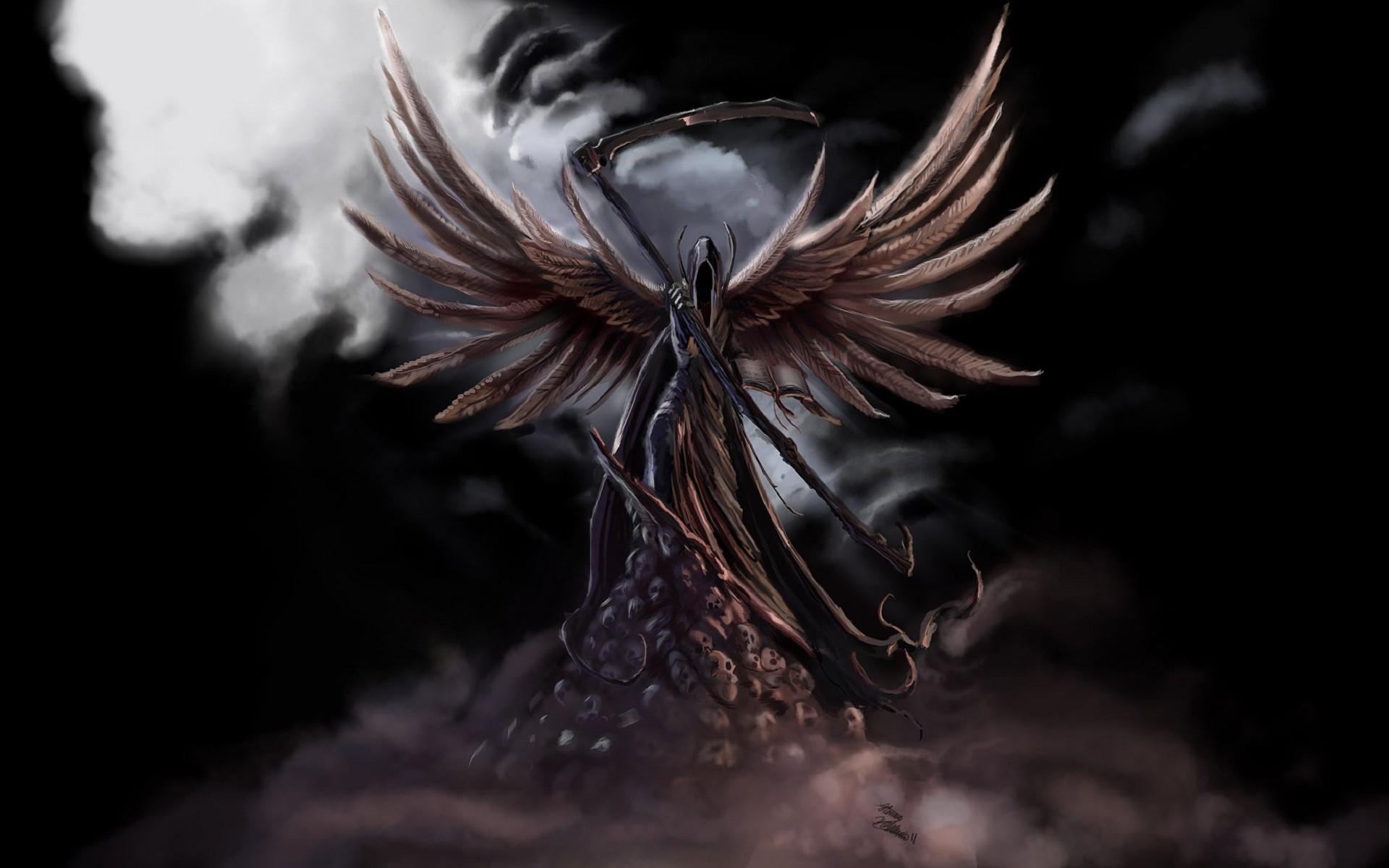 Dark Grim Reaper Horror Skeletons Skull Creepy Wings Angel Wallpaper At  Dark Wallpapers