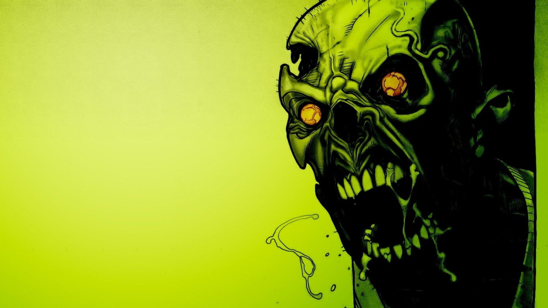 Preview wallpaper zombies, scary, green, eyes, blood 1920×1080