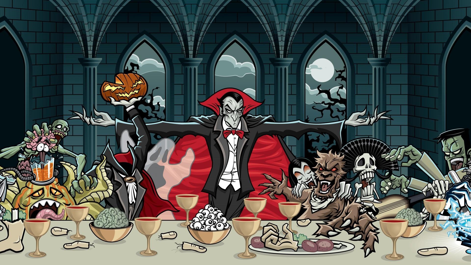 dark vampire skull monsters creatures spooky wallpaper background .
