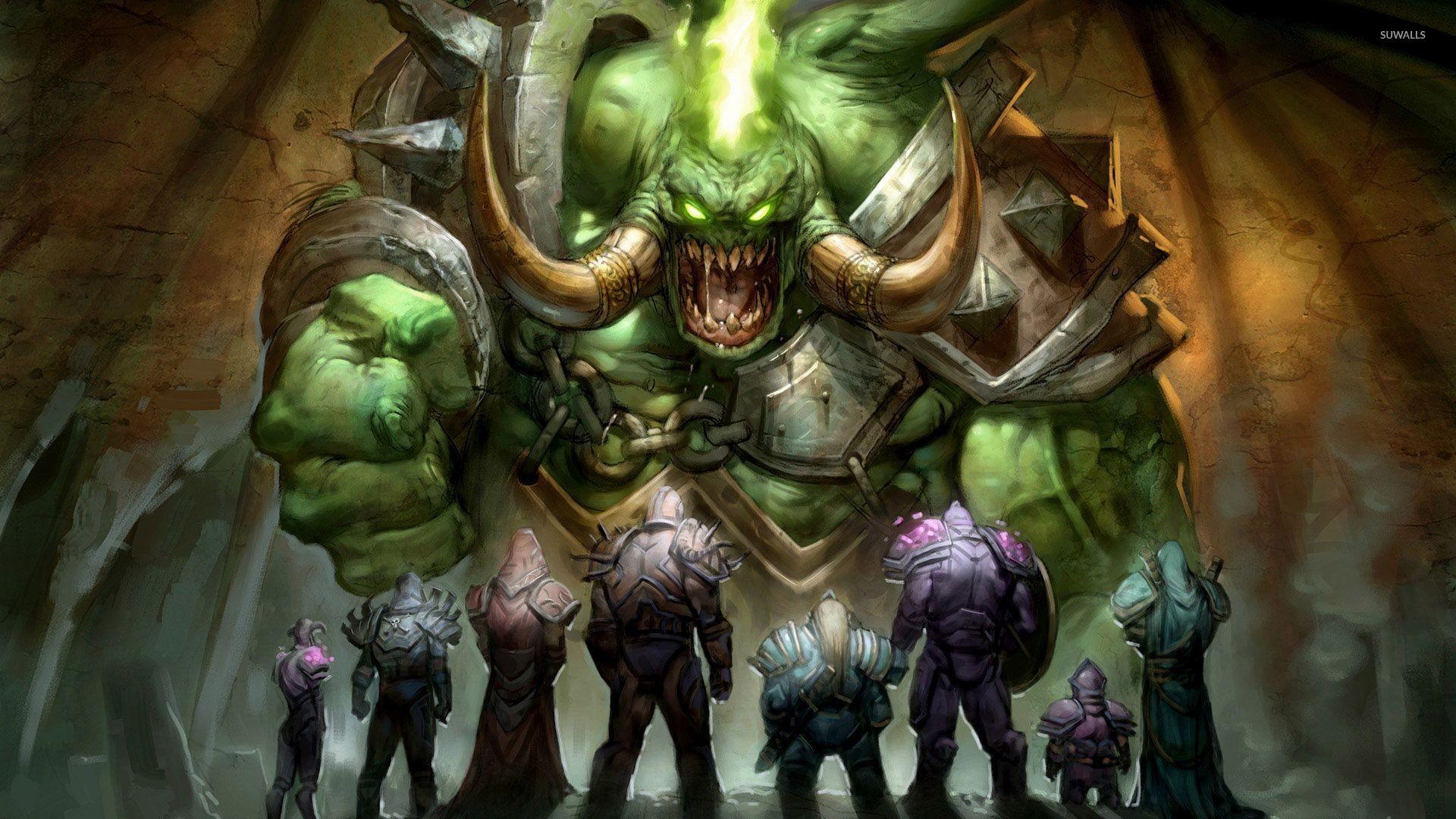 Heroes looking at the giant monster wallpaper jpg